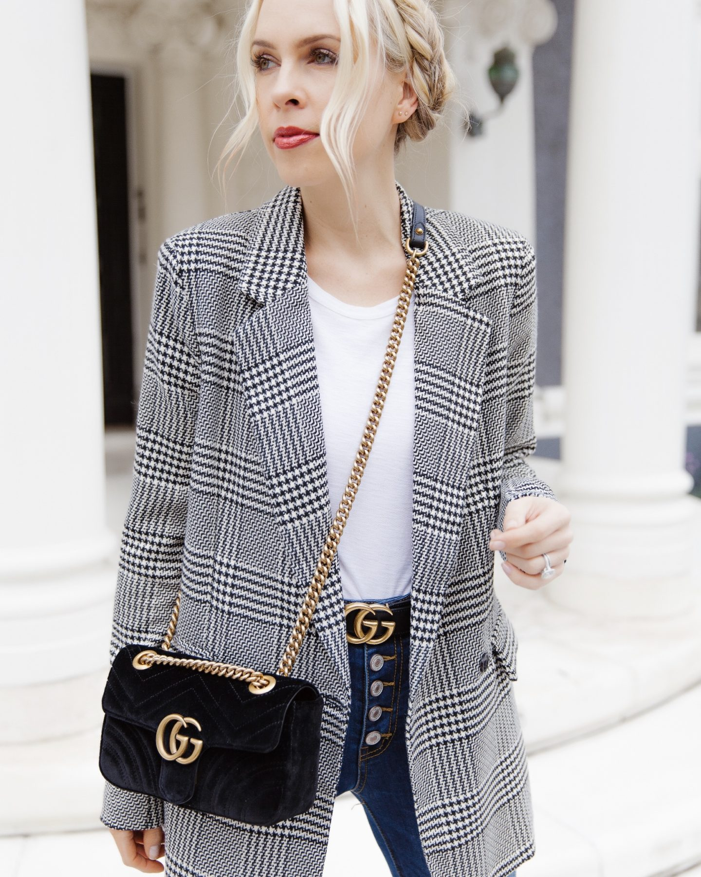 Vici dolls plaid blazer featured by top US fashion blogger Lombard and Fifth