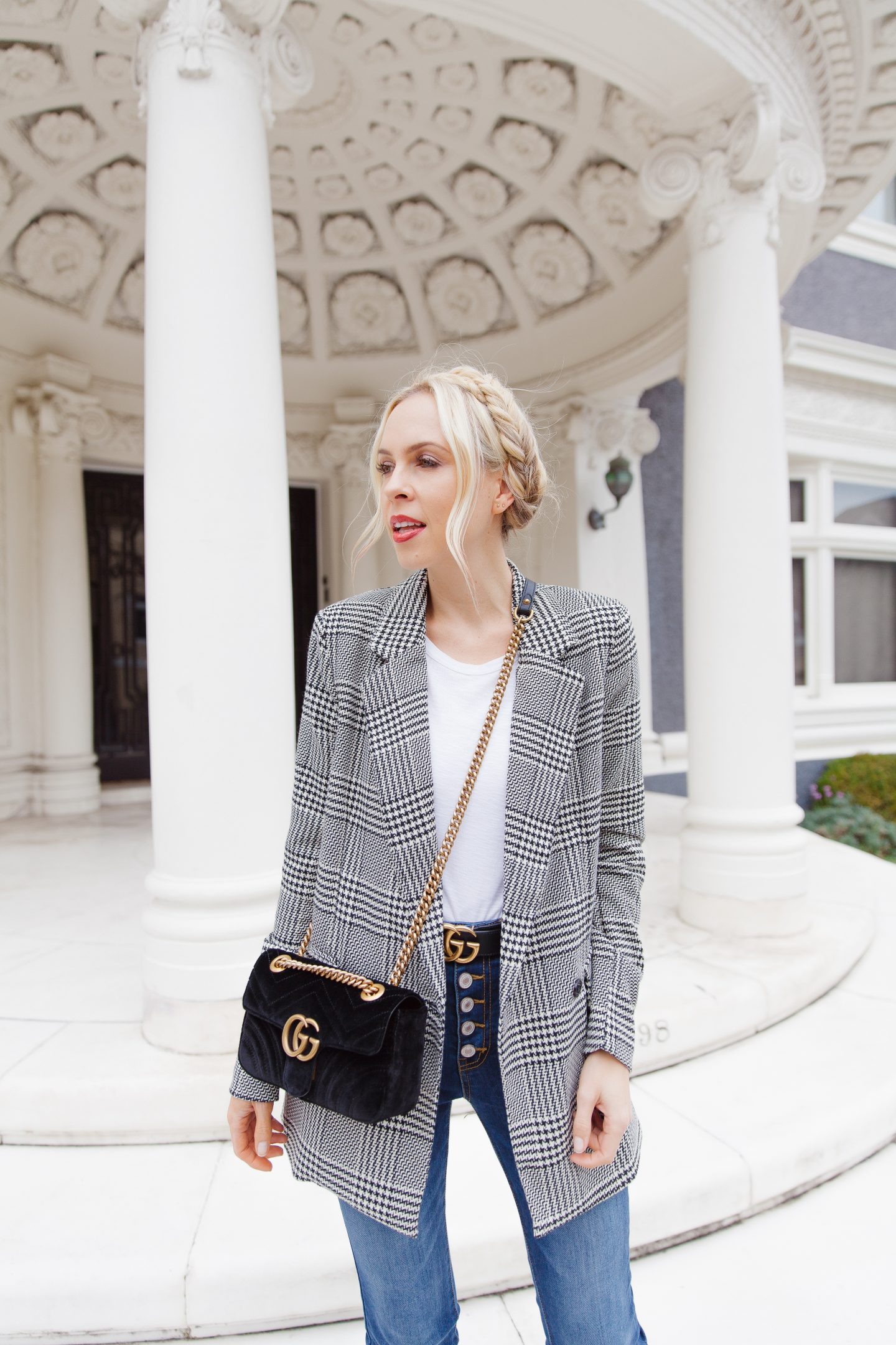 Vici dolls plaid blazer featured by top US fashion blogger Lombard and Fifth: image of a woman wearing a Vici plaid blazer