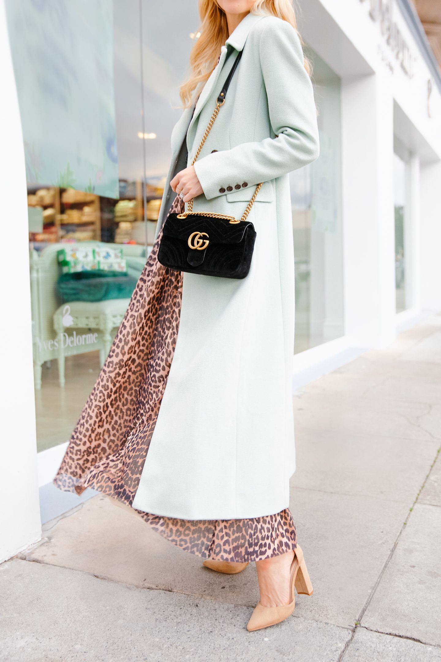 Ganni leopard dress and other winter color combinations featured by top US fashion blogger Lombard and Fifth