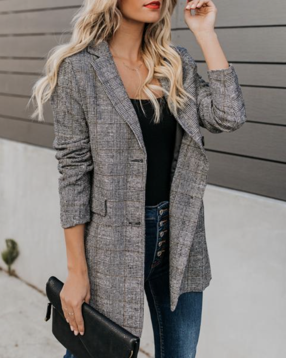 Vici dolls plaid blazer featured by top US fashion blogger Lombard and Fifth: image of a woman wearing Vici's plaid blazer