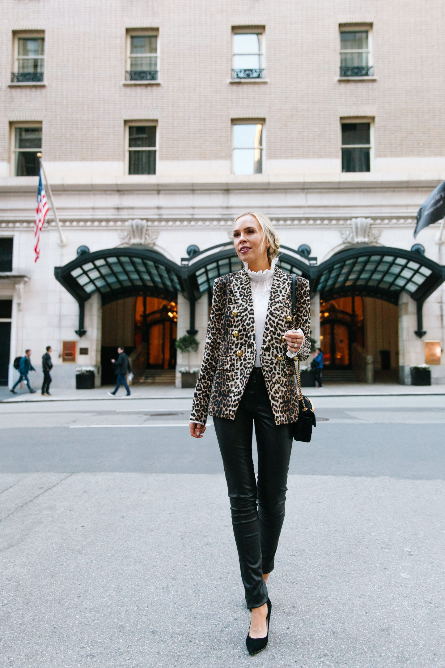 Luxury staycation at the Palace Hotel San Francisco featured by top San Francisco blogger, Lombard and Fifth: image of a woman wearing a Veronica Beard leopard print jacket, TOPSHOP faux leather skinny pants, Halogen blouse and Gucci Marmont matelasse bag.