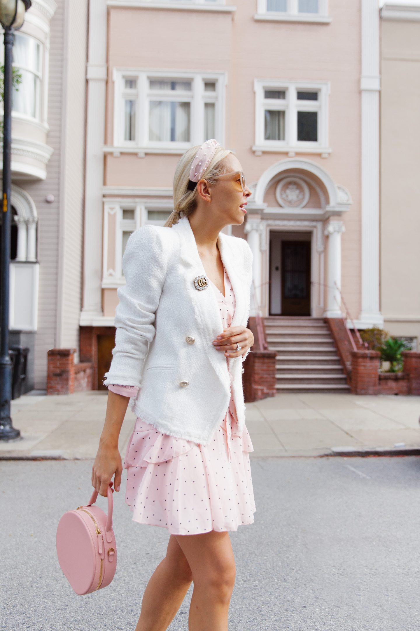 Chicwish dress River Island white blazer spring style featured by top San Francisco fashion blogger Lombard and Fifth