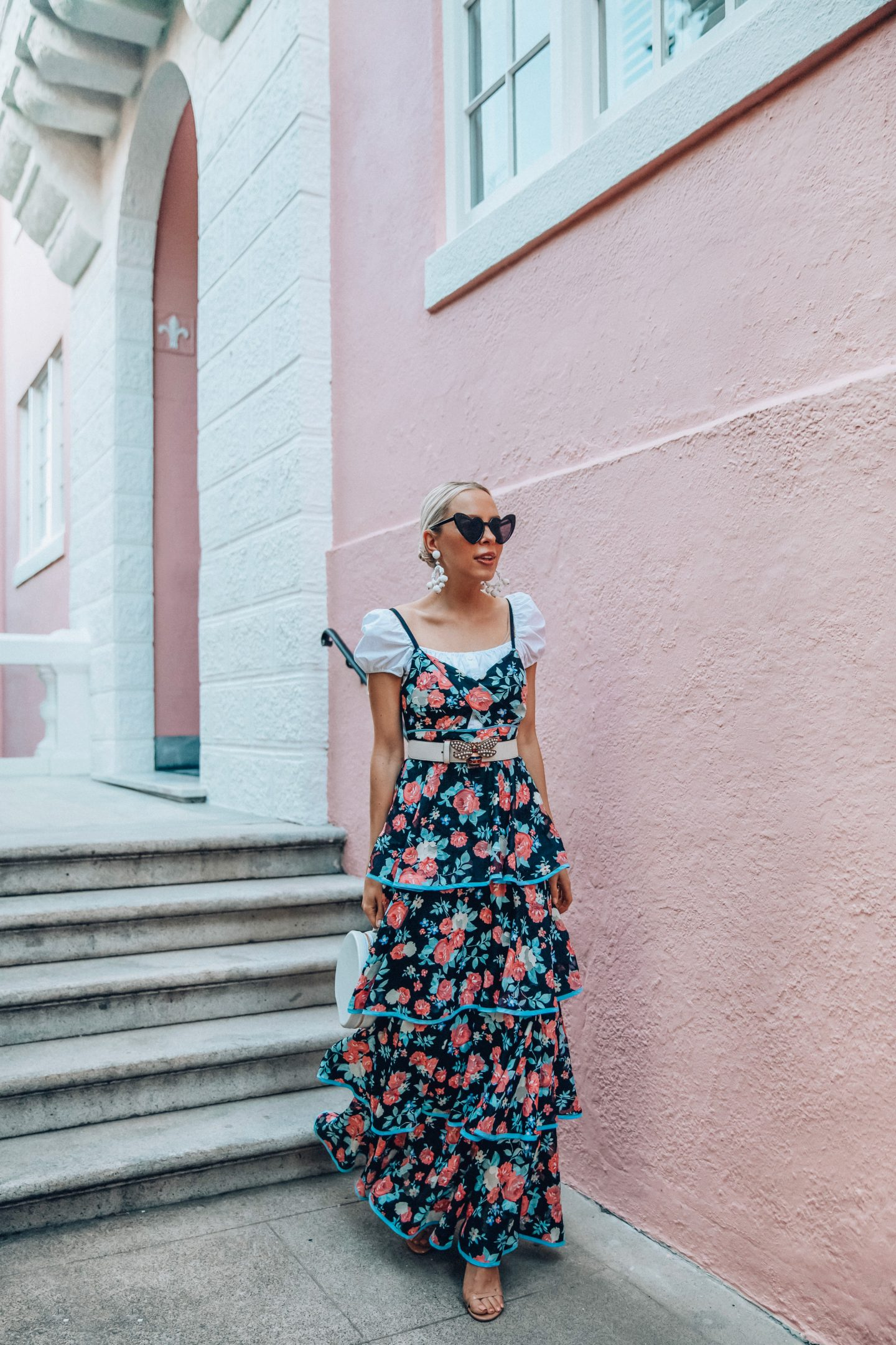 Cute tiered dresses featured by top US fashion blog Lombard and Fifth: image of a woman wearing a Foxiedox tiered dress