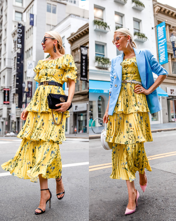 One Floral Maxi Dress from Day to Night featured by top US fashion blog, Lombard and Fifth: image of a woman wearing an AQUA maxi floral dress