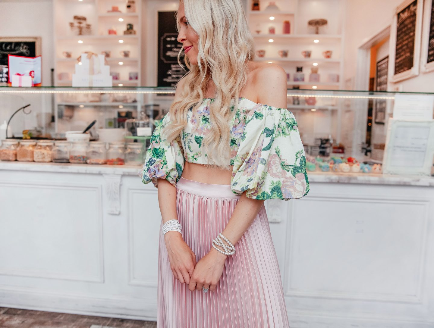 Victoria Emerson Sale favorites featured by top US fashion blog, Lombard & Fifth: image of a woman wearing the Victoria Emerson pearl wrap bracelets for summer