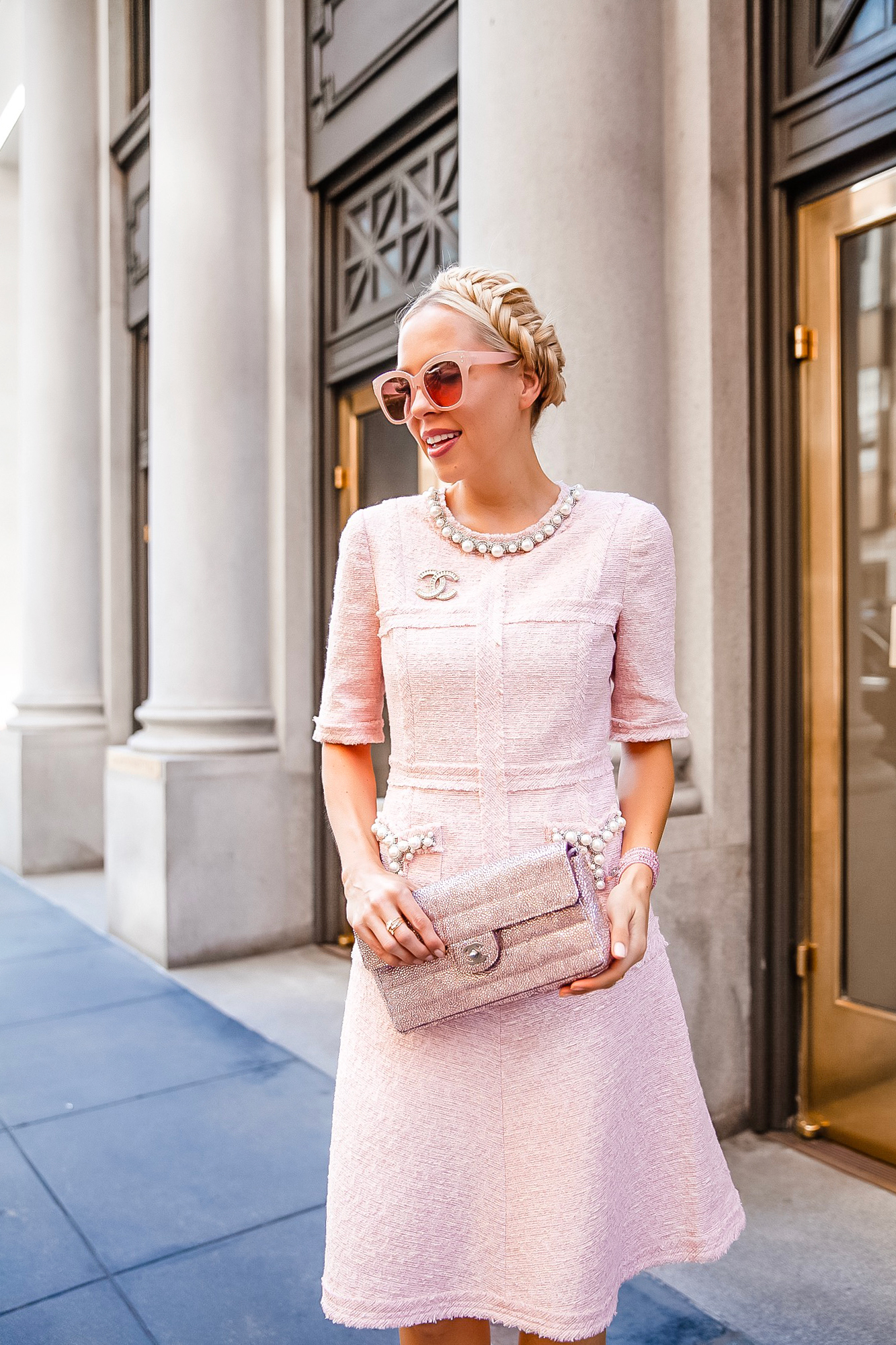 Teri Jon tweed pearl dress featured by top San Francisco fashion blogger Lombard and Fifth