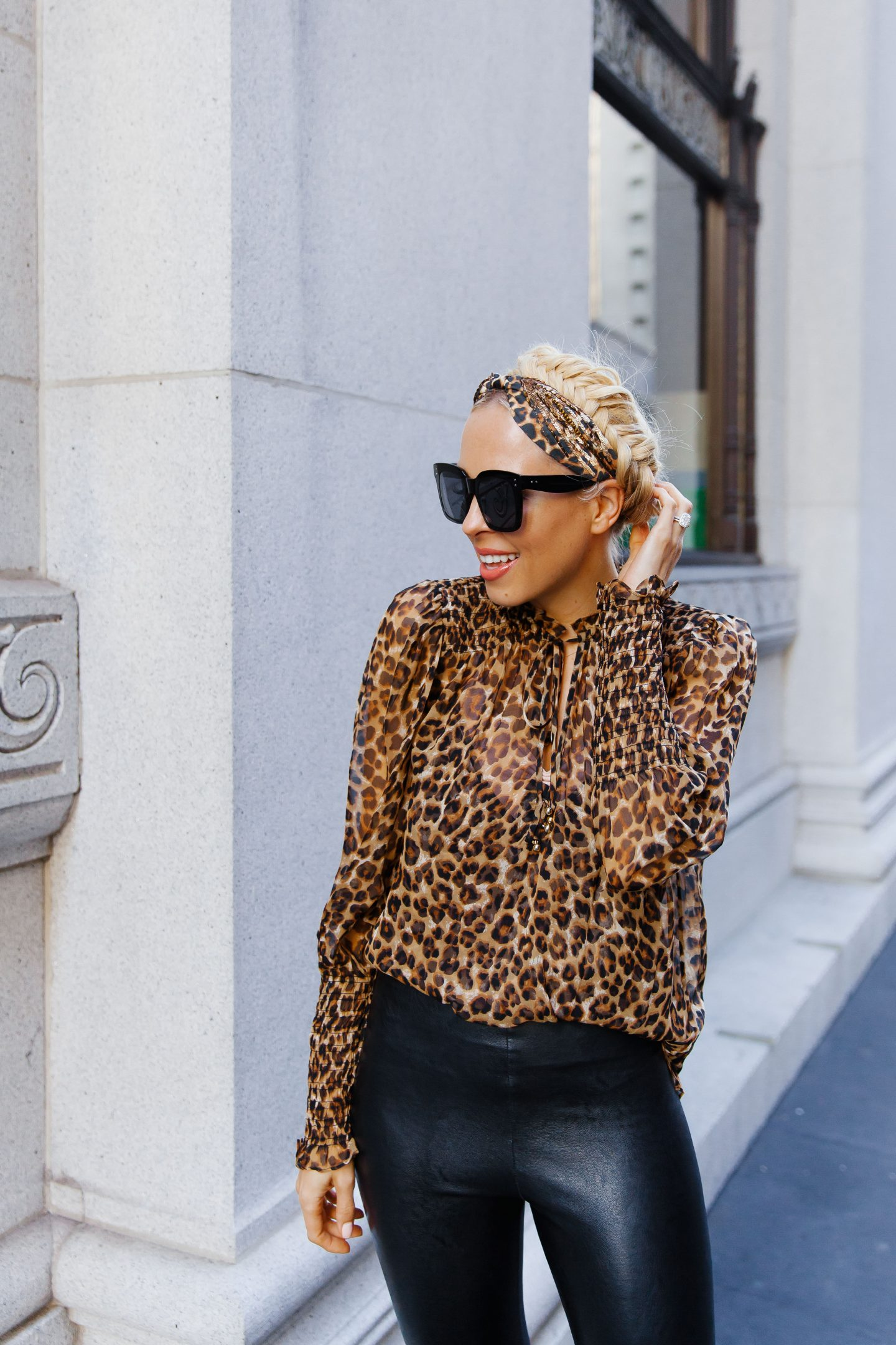 Veronica Beard leopard blouse leather leggings featured by top San Francisco fashion blogger Lombard and Fifth