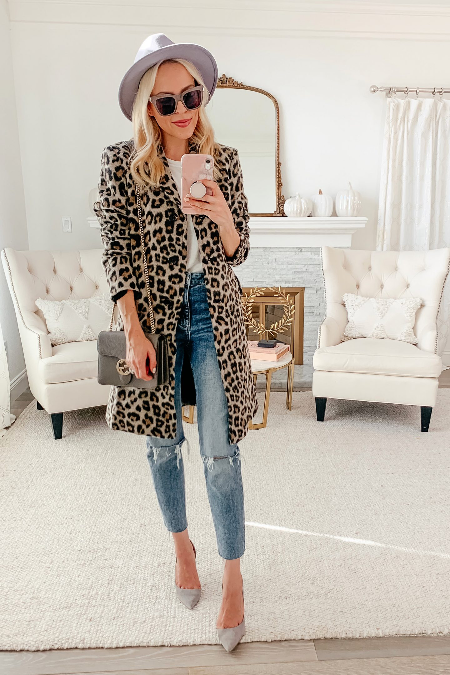 Ann Taylor Brushed Leopard Print Chesterfield Coat styled 5 ways featured by top San Francisco fashion blogger Lombard and Fifth