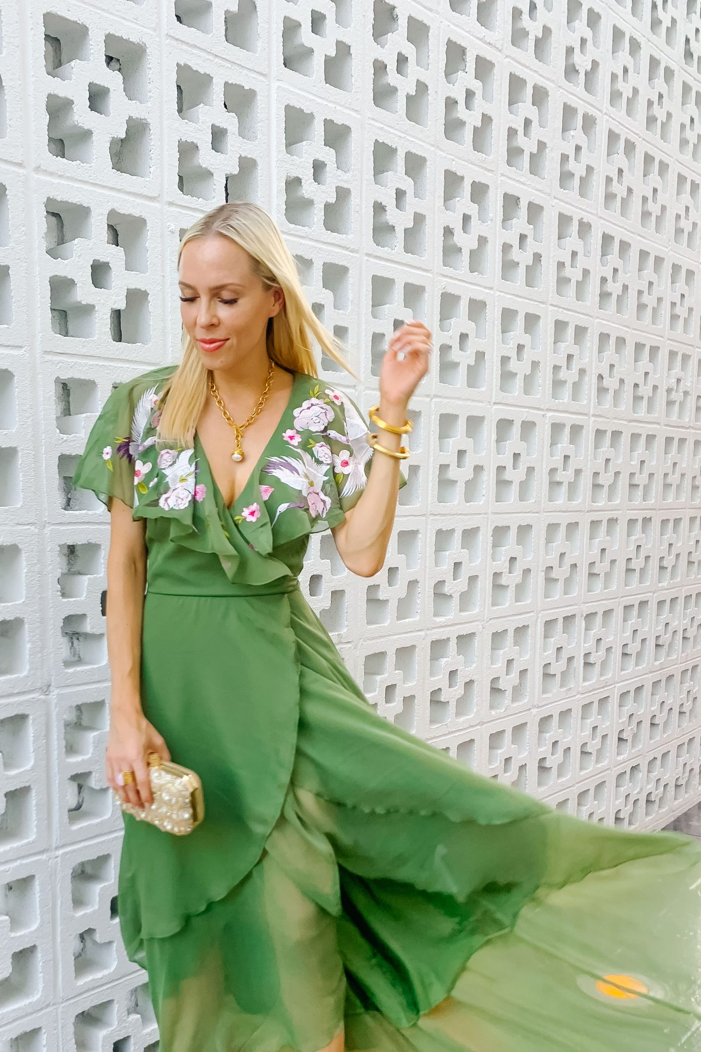 ASOS embroidered wedding guest dress styled by top San Francisco fashion blogger Lombard and Fifth.