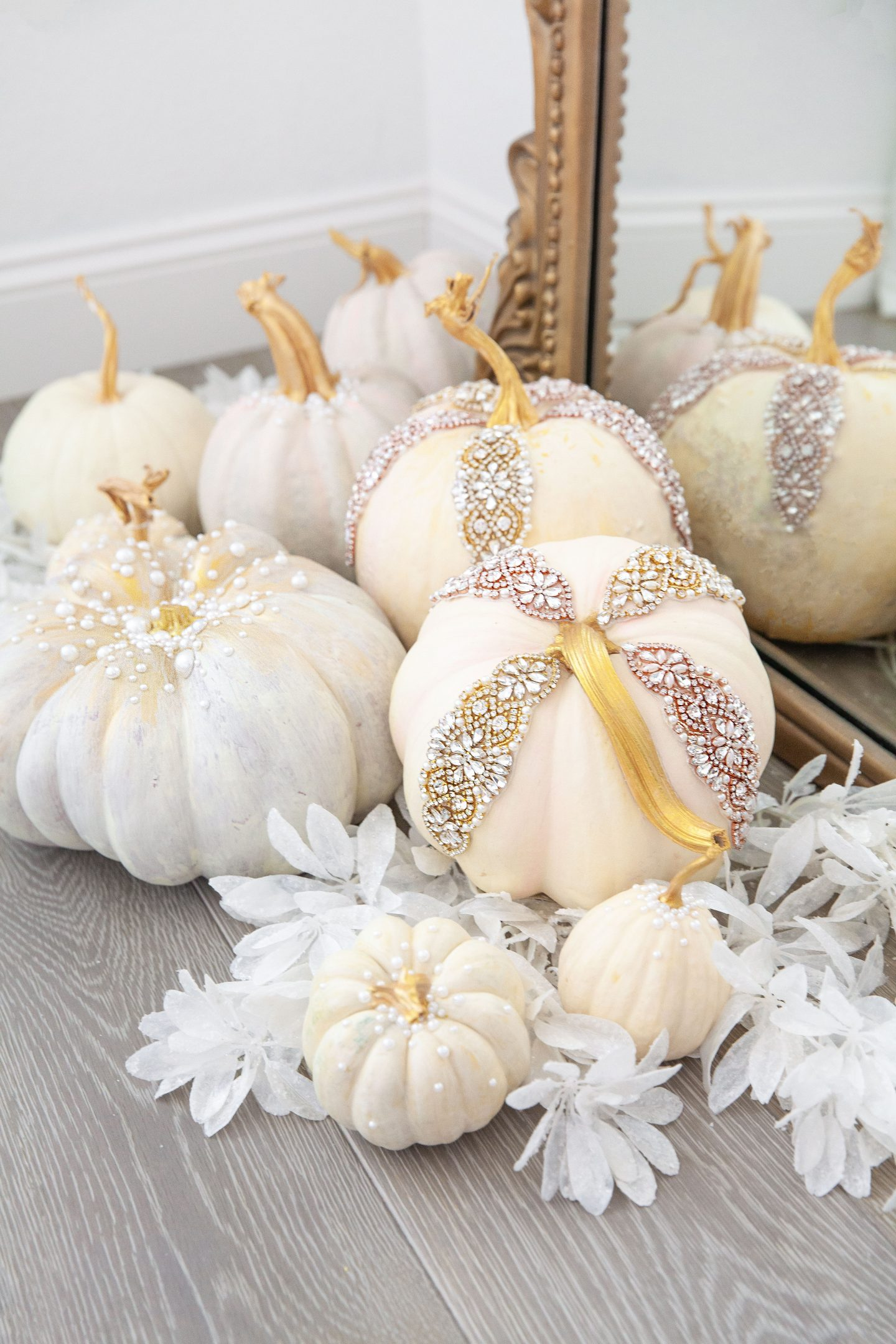 DIY Pumpkin décor with pearls and applique under $100, featured by top San Francisco fashion blogger Lombard and Fifth.