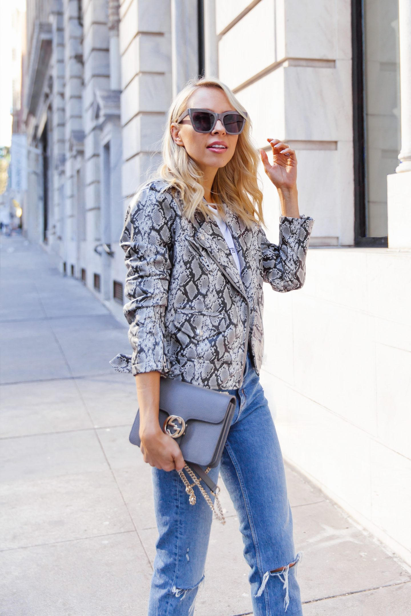 Blanknyc snake print motto jacket trend, featured by top San Francisco fashion blogger Lombard and Fifth.