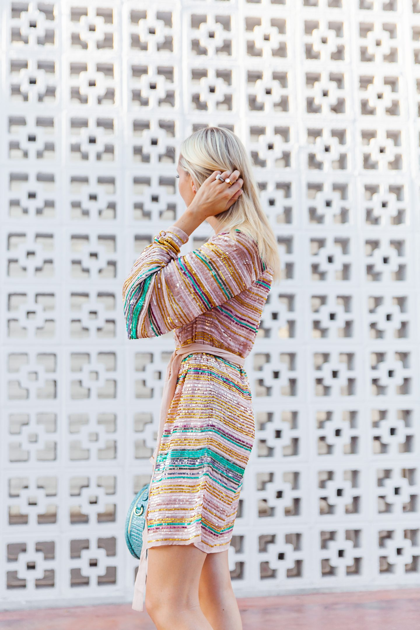 Tularosa Robin sequin wrap dress styled by top San Francisco fashion blogger Lombard and Fifth.