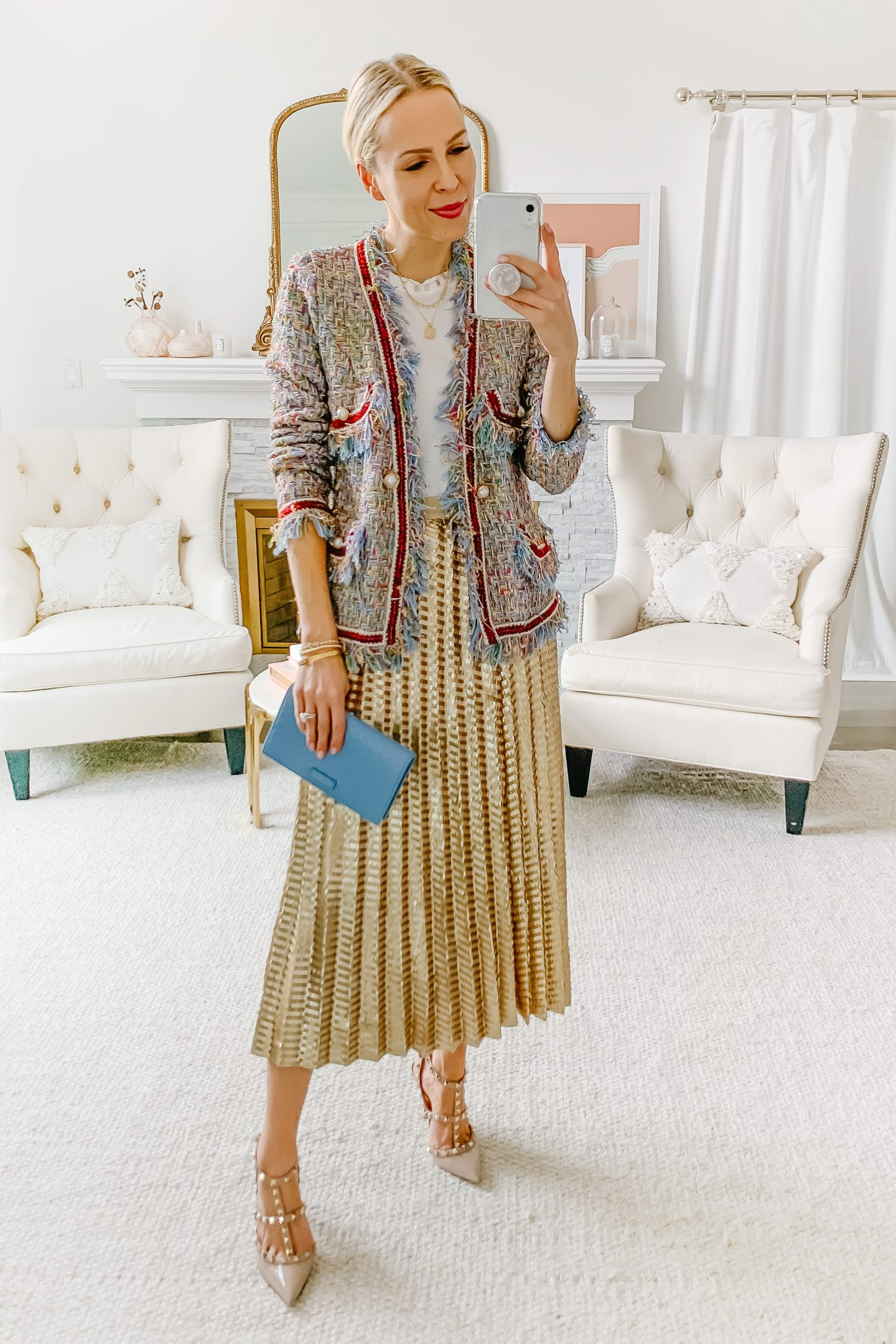 Anthropologie Natalia Sequined Midi Skirt, styled 5 ways by top San Francisco fashion blogger Lombard and Fifth.