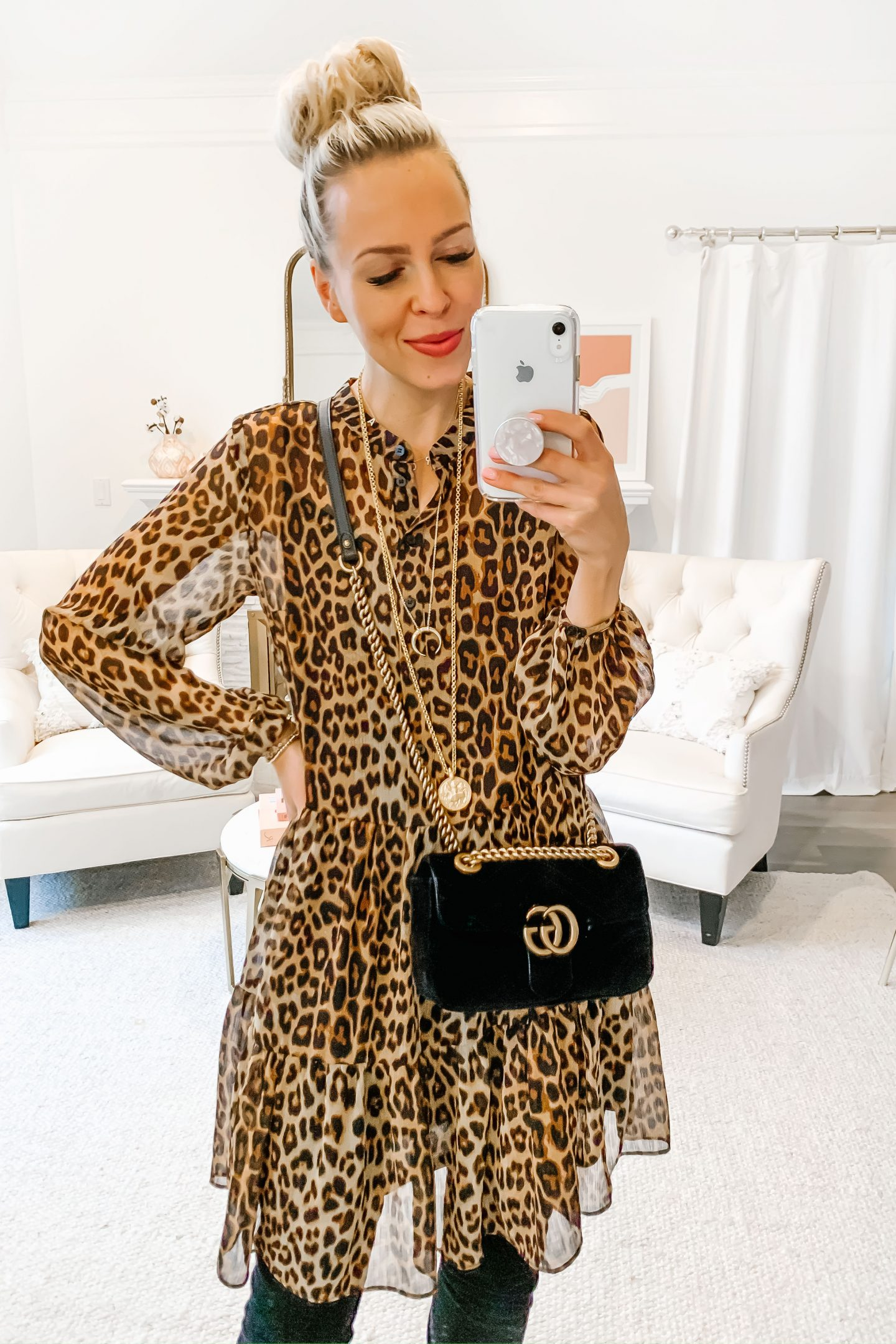 H&M leopard chiffon dress styled Five Ways, featured by top San Francisco fashion blogger Lombard and Fifth.