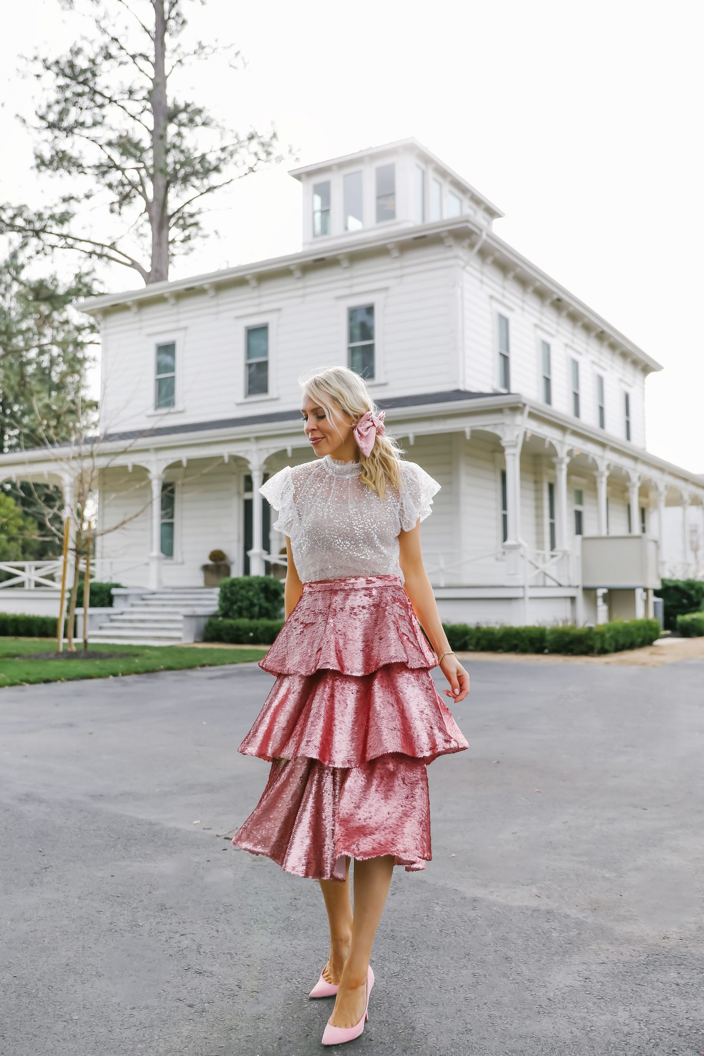 Rachel Parcell pink sequin tiered skirt, valentine's day style featured by top San Francisco fashion blogger Lombard and Fifth.