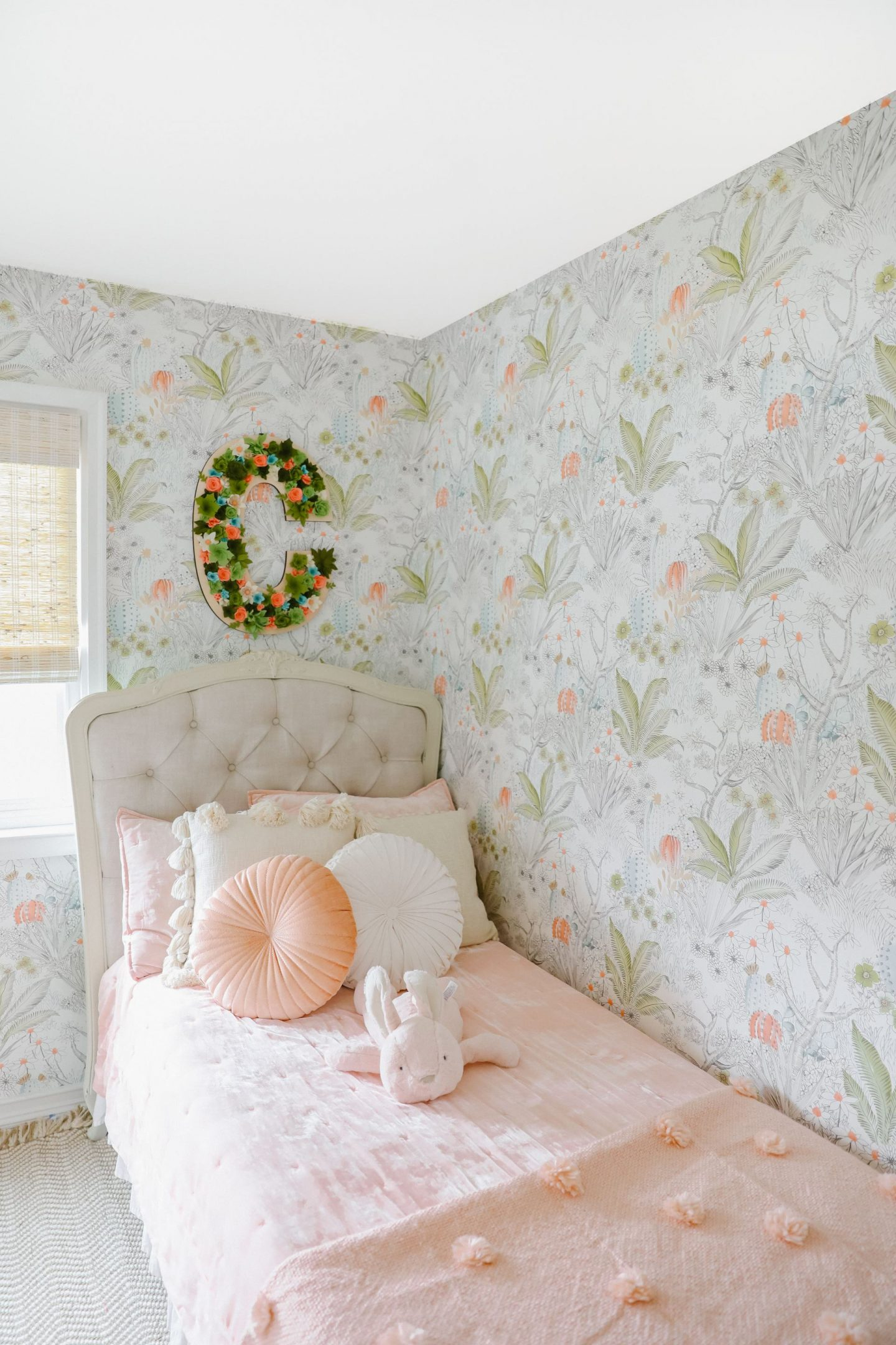 Anthropologie Boho wallpaper green and pink girls room décor inspiration, featured by top San Francisco blogger Lombard and Fifth.