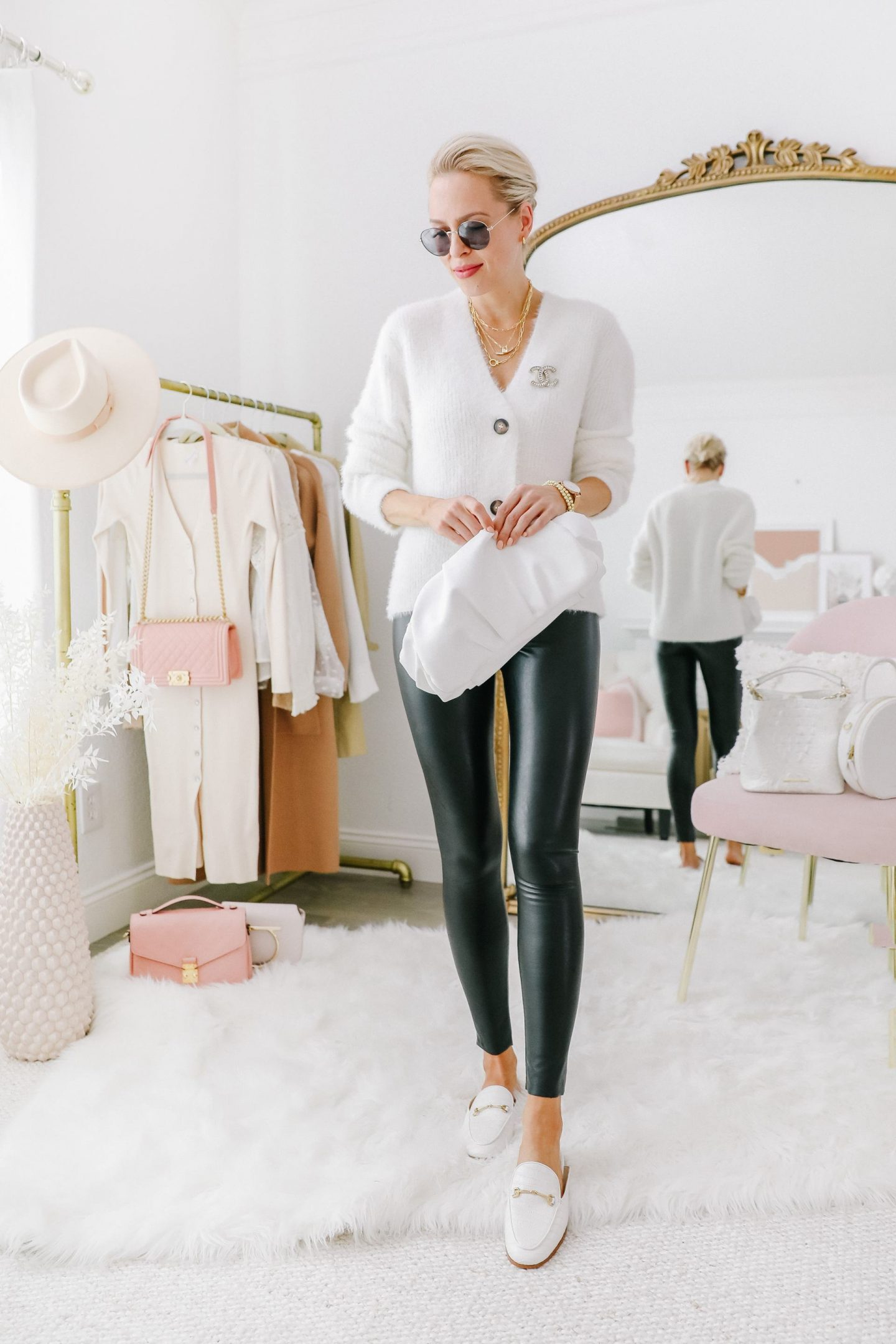 Faux leather leggings styled 5 ways, featured by top San Francisco fashion blogger Lombard and Fifth. Neutral casual style.