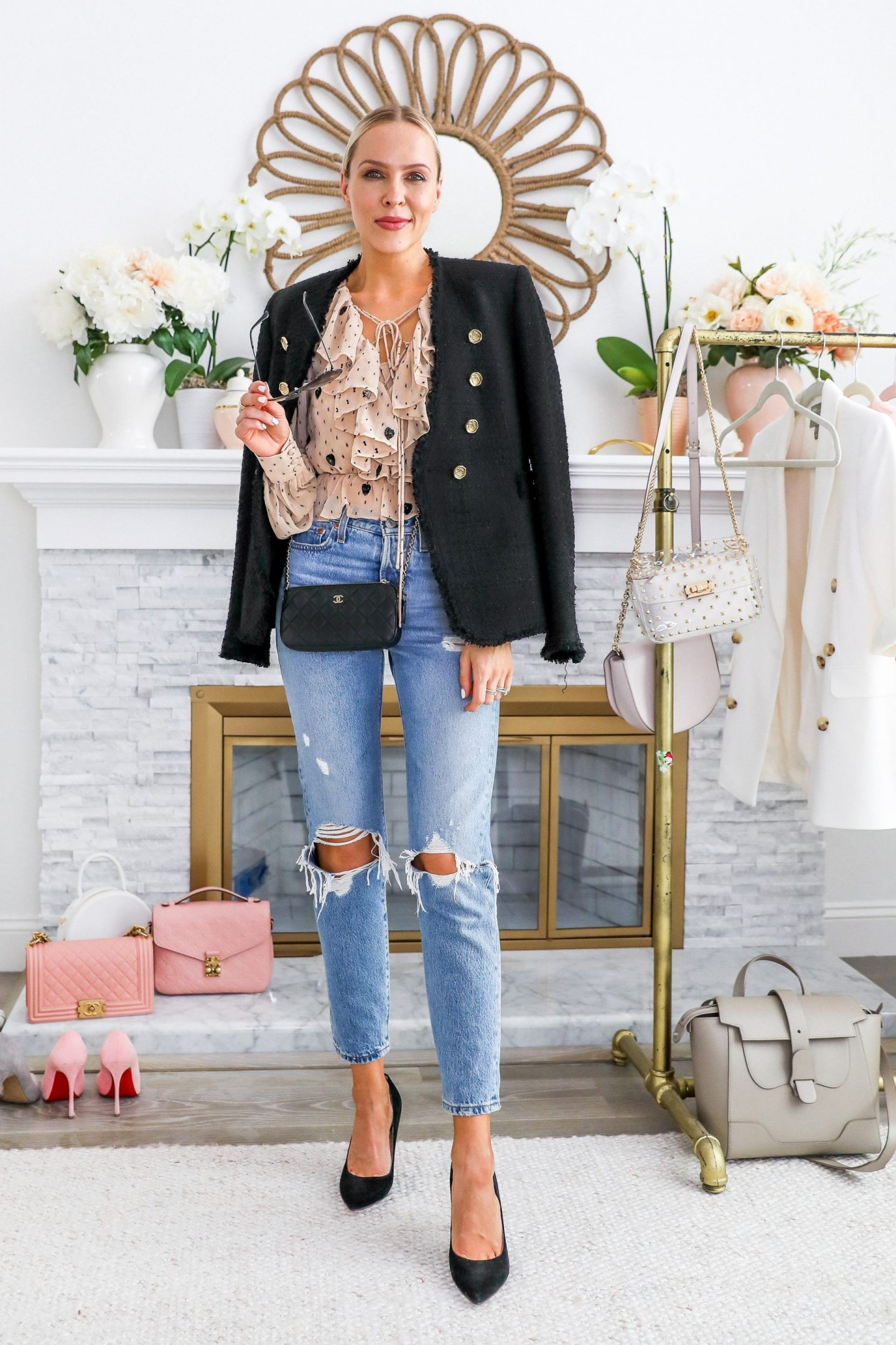 Levi's distressed jeans styled for every season, featured by top San Francisco blogger Lombard and Fifth.