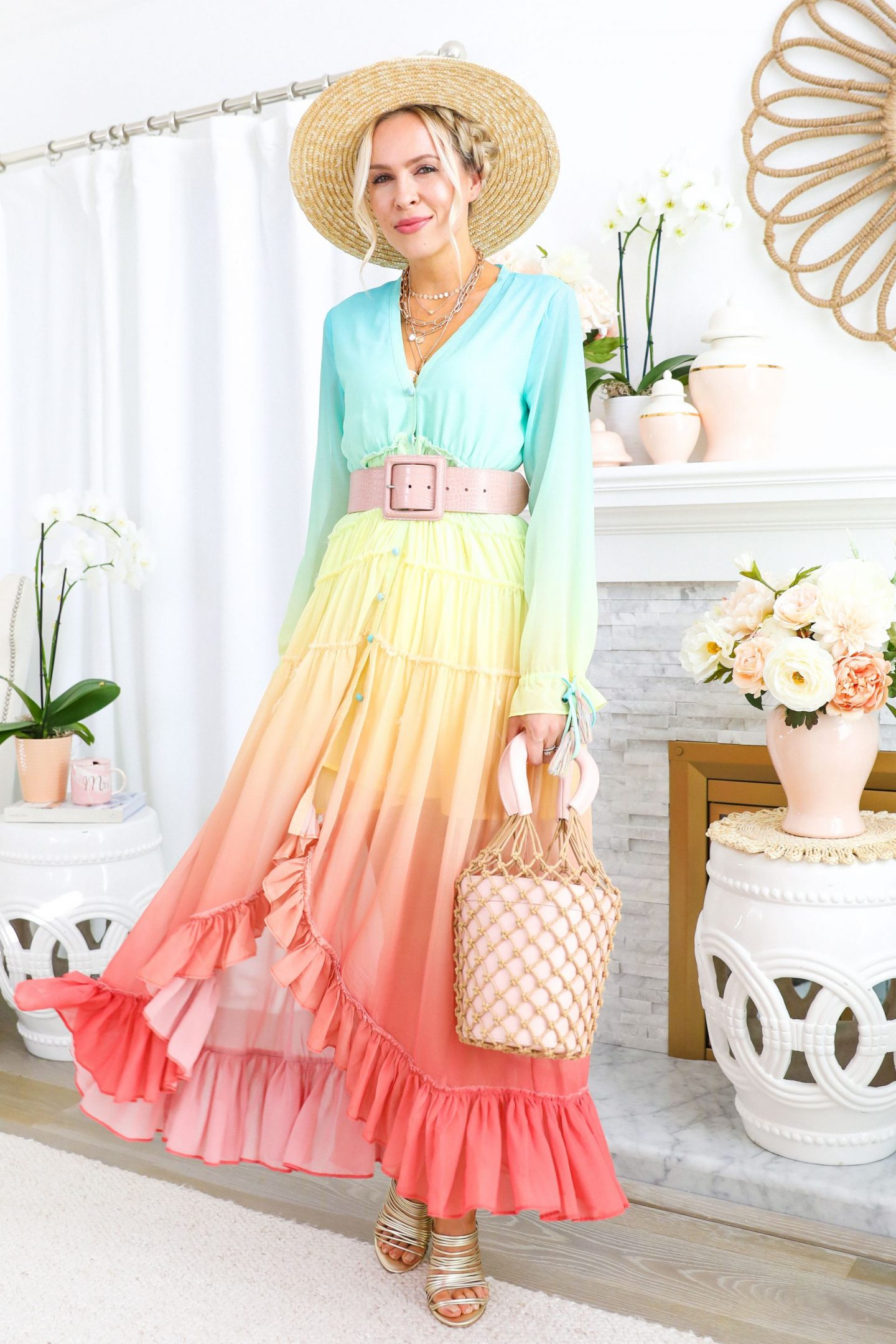 rococo sand multicolored dress styled 5 ways, featured by San Francisco style blogger Lombard and Fifth.