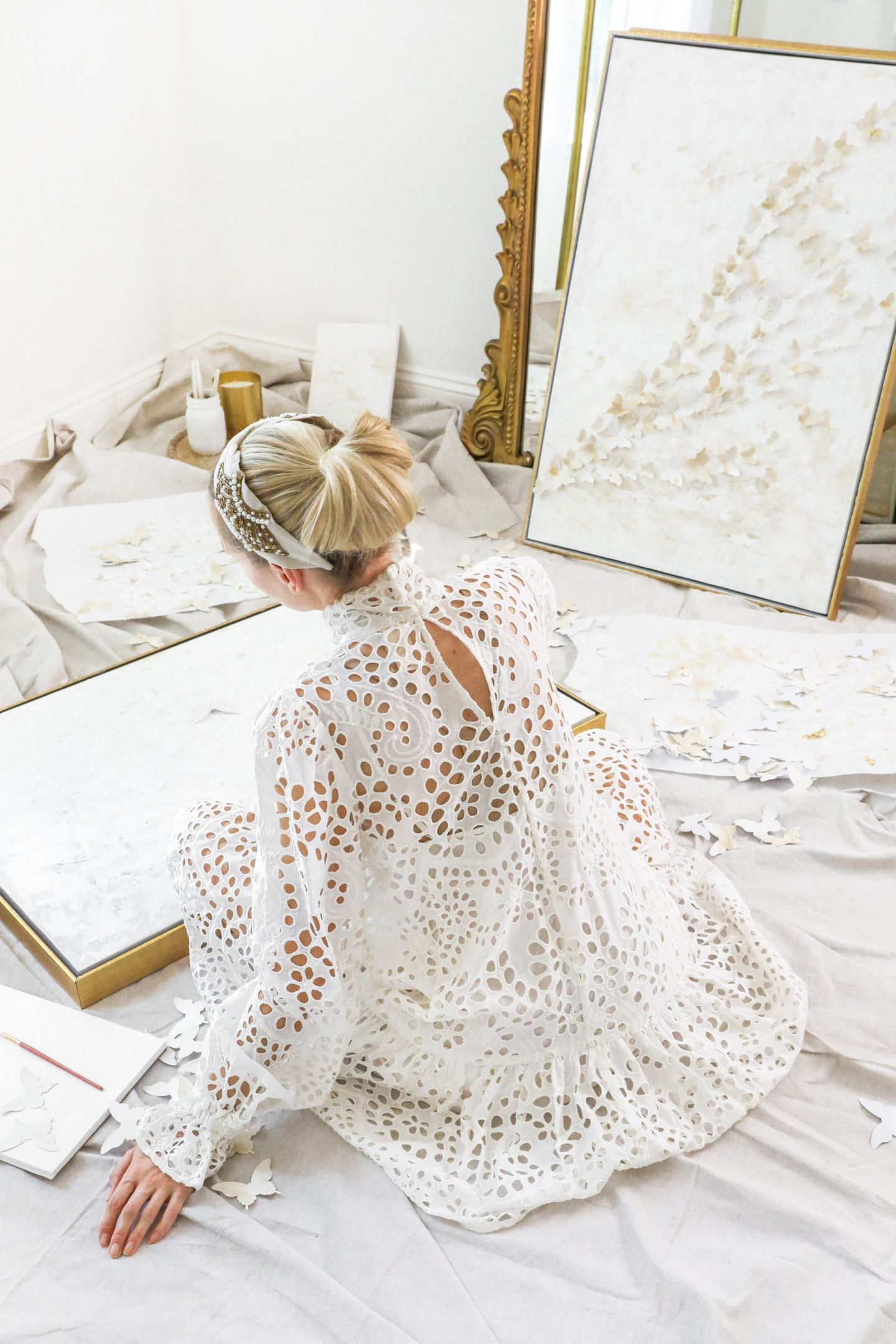 How to update your wall décor with a simple DIY abstract paper butterfly painting, featured by San Francisco style blogger Lombard and Fifth. White and gold home décor, farmhouse inspired.