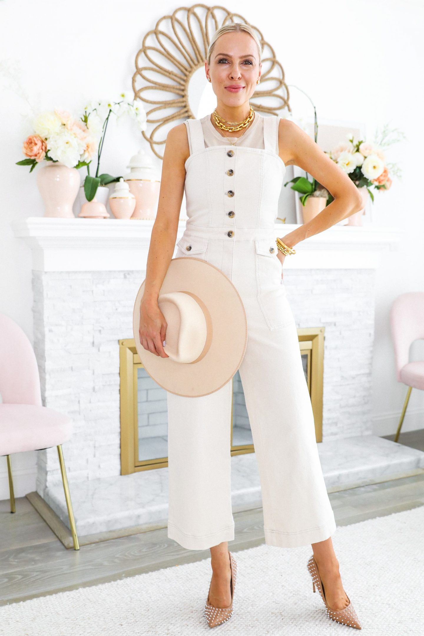 H&M beige jumpsuit styled 5 ways for summer, featured by San Francisco style blogger Lombard and Fifth.