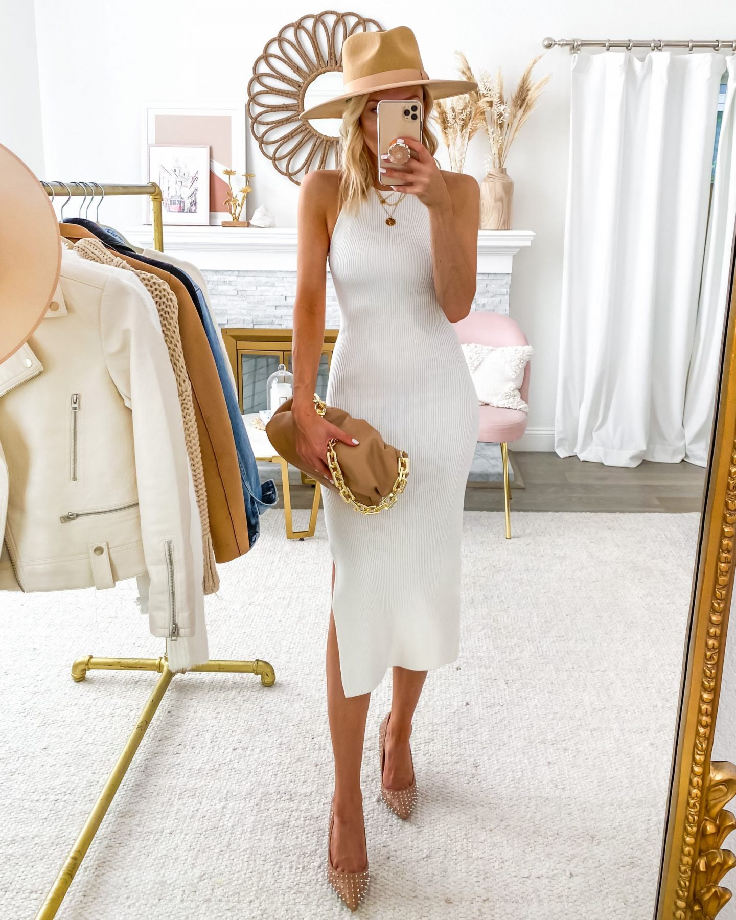 White ribbed dress styled 8 ways for fall, featured by San Francisco style blogger Lombard and Fifth. Neutral style, casual style.