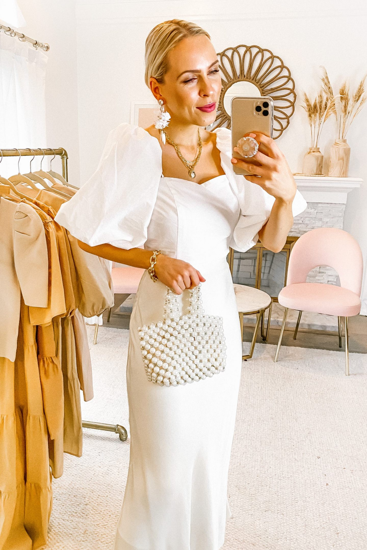 Topshop Asos beige and white puff sleeve dress, featured by San Francisco style blogger Lombard and Fifth.