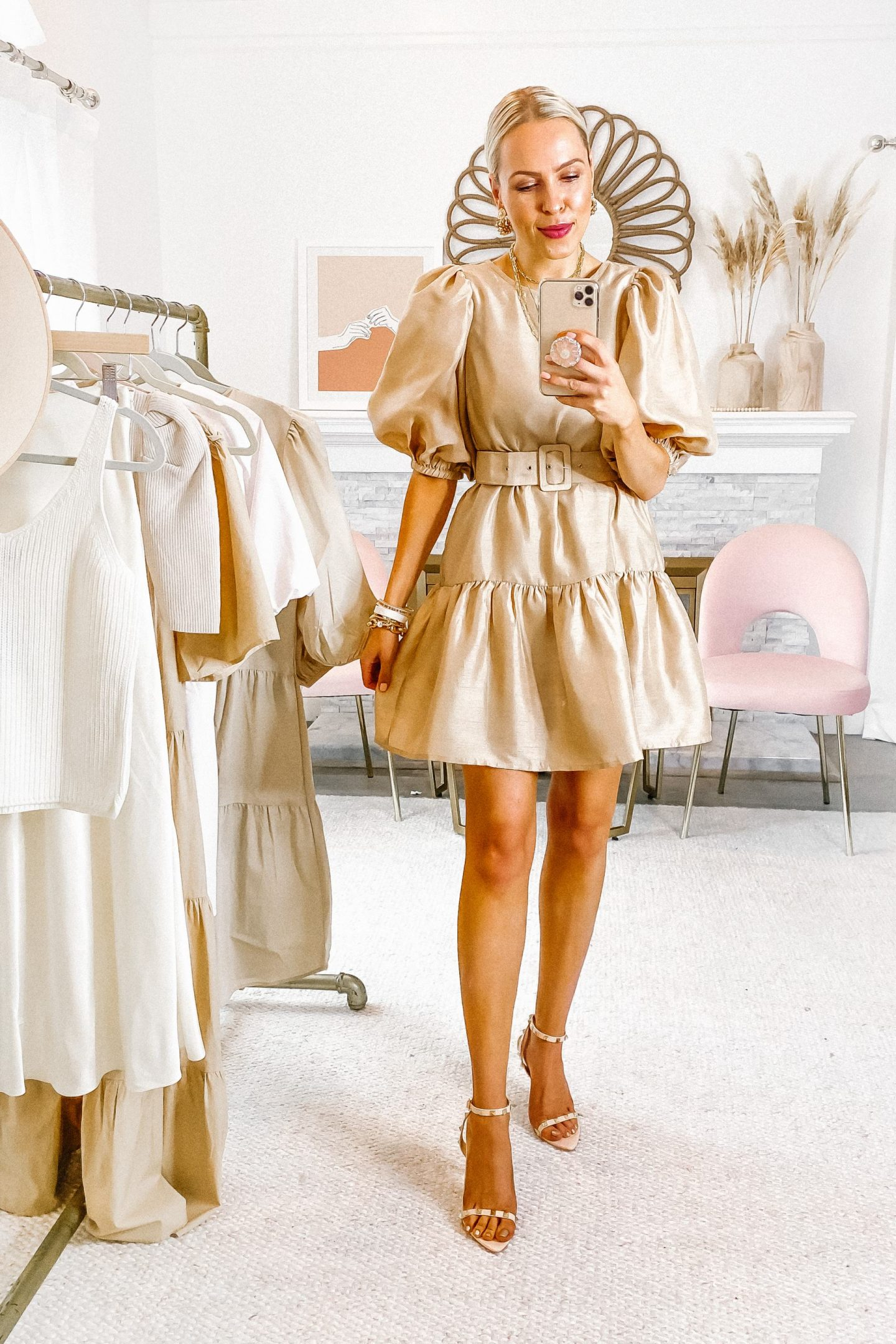 Topshop Asos beige and white puff sleeve dress, featured by San Francisco style blogger Lombard and Fifth. Neutral dresses for fall