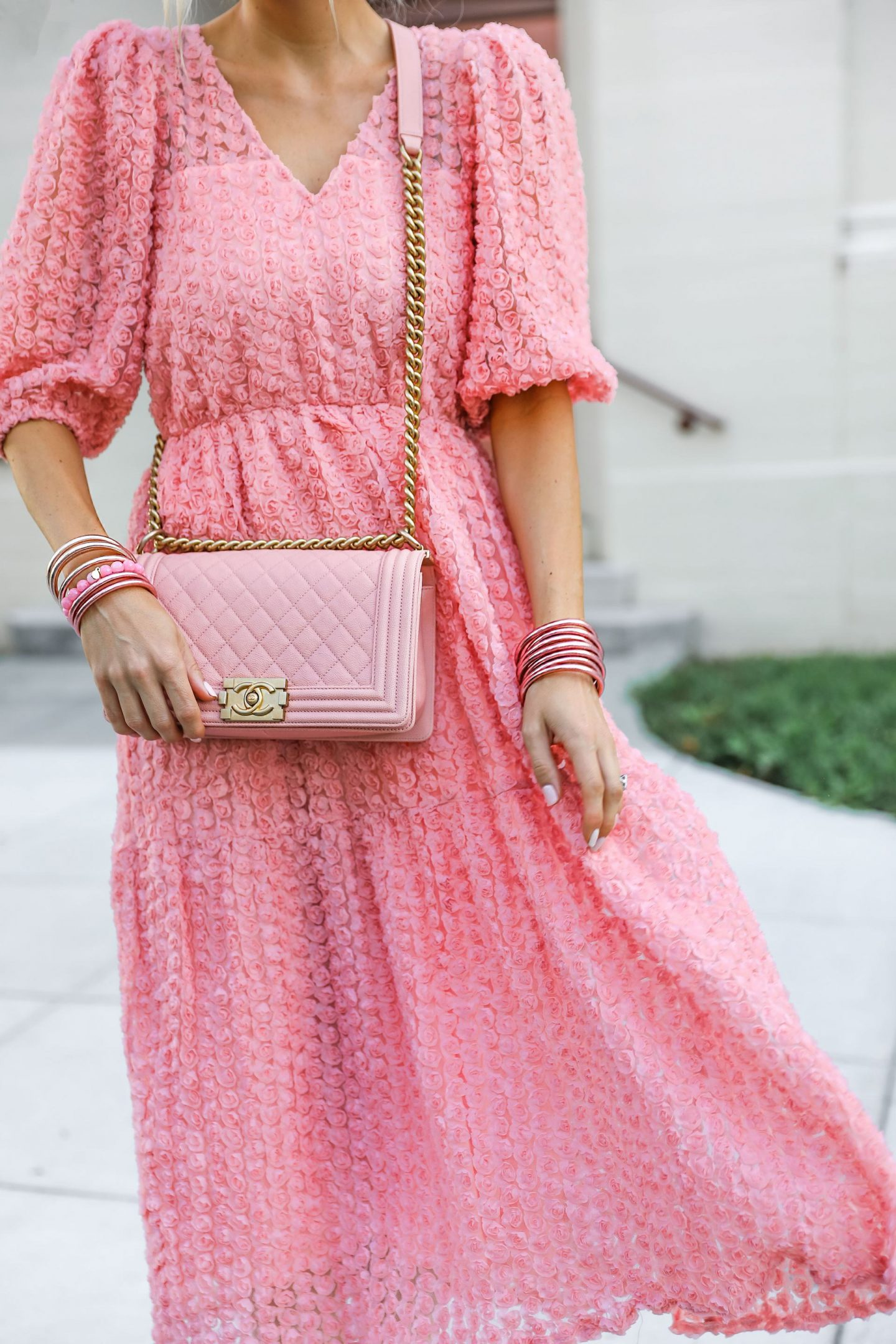 Dusty rose midi dress with chanel boy bag, feminine style by fashion blogger Lombard & Fifth.