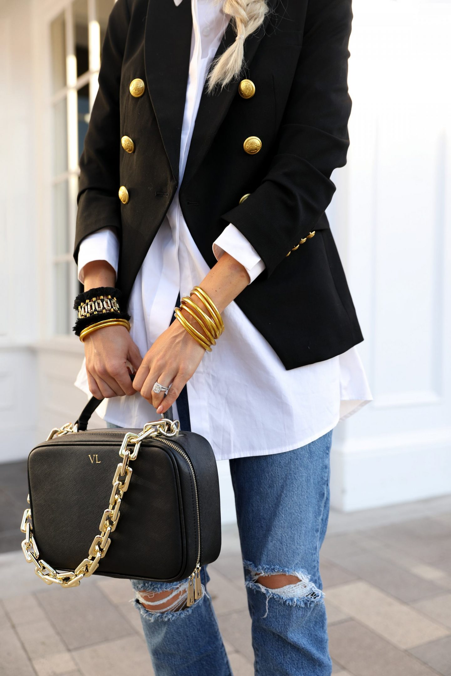 Express black gold button blazer casual chic style with budha girl bracelets, feminine style by fashion blogger Lombard & Fifth.