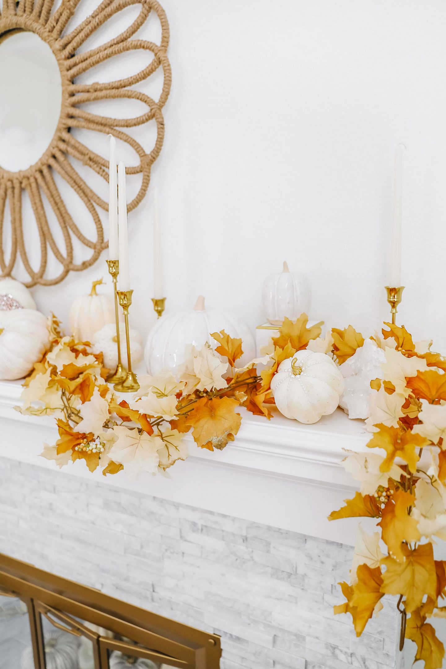 Easy glam neutral fall mantel décor update ideas. Glass pumpkins, voluspa pumpkin spice candles.