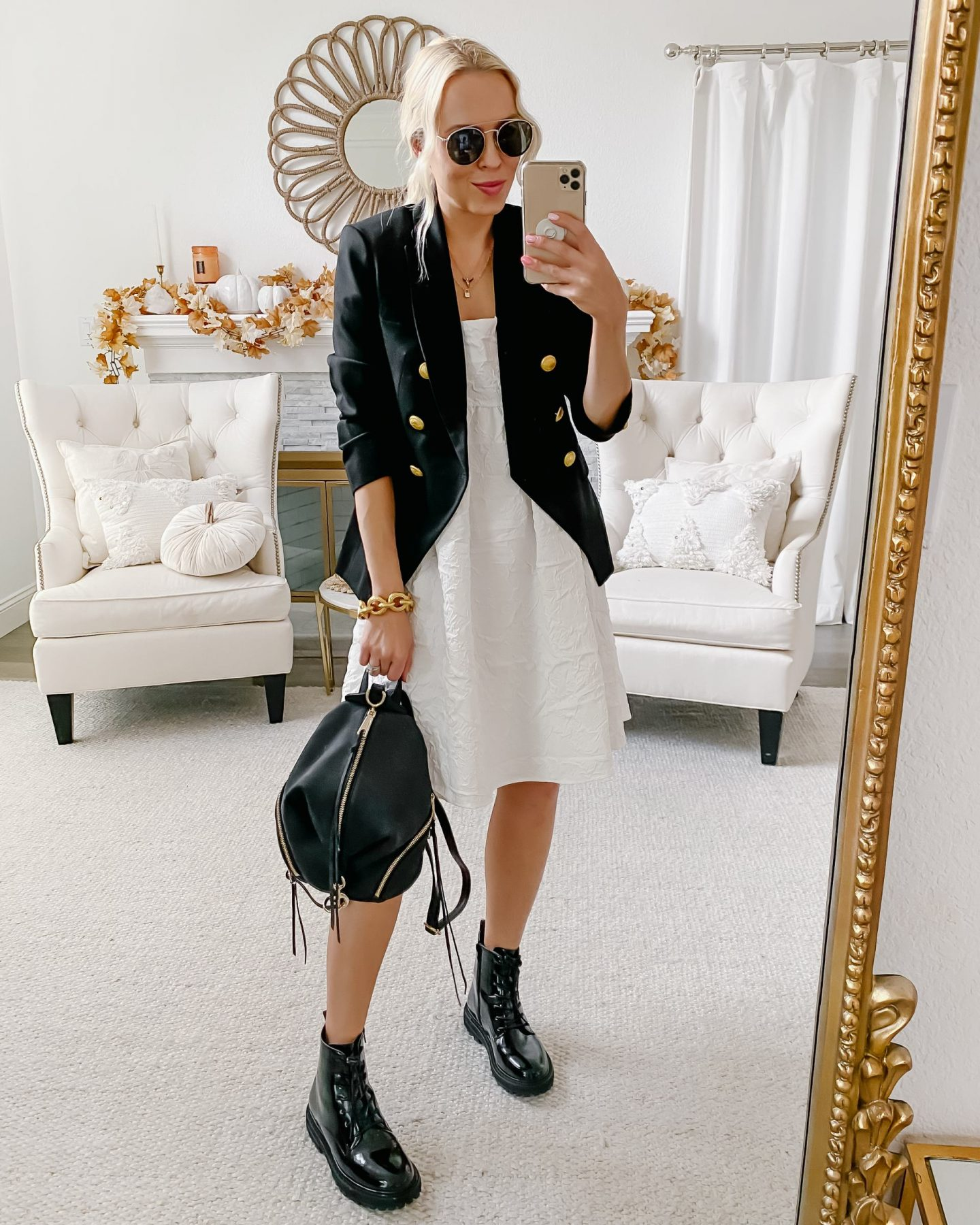 Express double breasted white blazer, chic neutral style inspiration for fall, by San Francisco fashion blogger Lombard & Fifth.