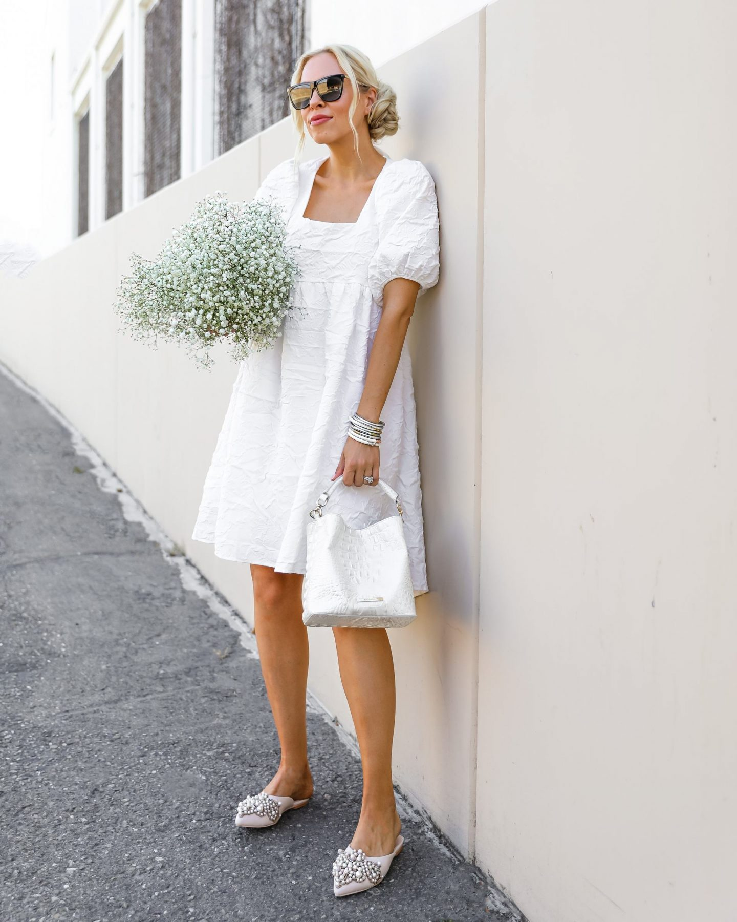 Vita Grace puff sleeve white dress, and pieces you can transition into fall and winter style. By San Francisco fashion blogger Lombard & Fifth.
