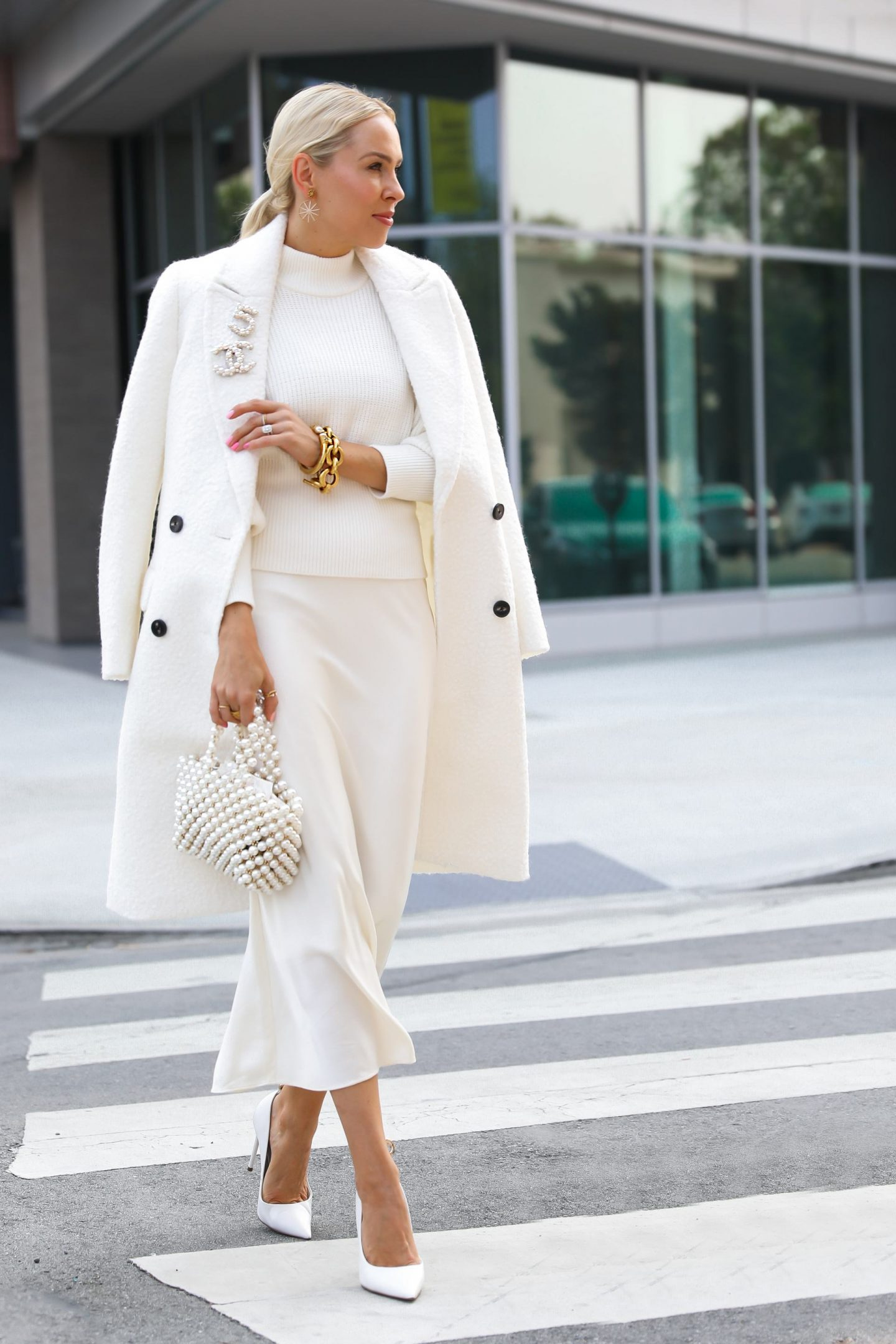 Express white Sherpa Double Breasted Car Coat sale, monochromatic all white style inspiration for fall, by San Francisco fashion blogger Lombard & Fifth.