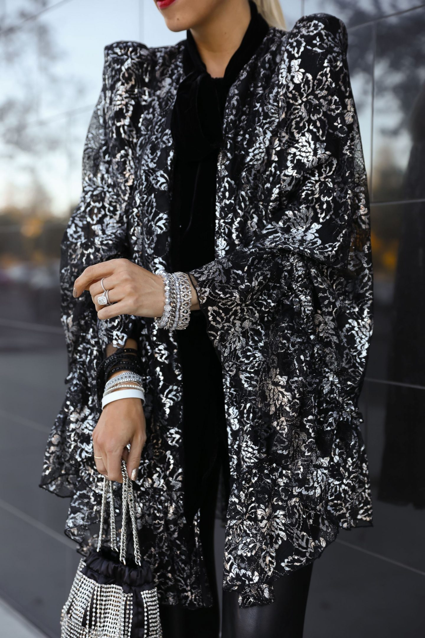 Victoria Emerson holiday sale, featuring best accessories sale pieces paired with H&M x Vampire's Wife silver cape. By fashion blogger Lombard & Fifth.