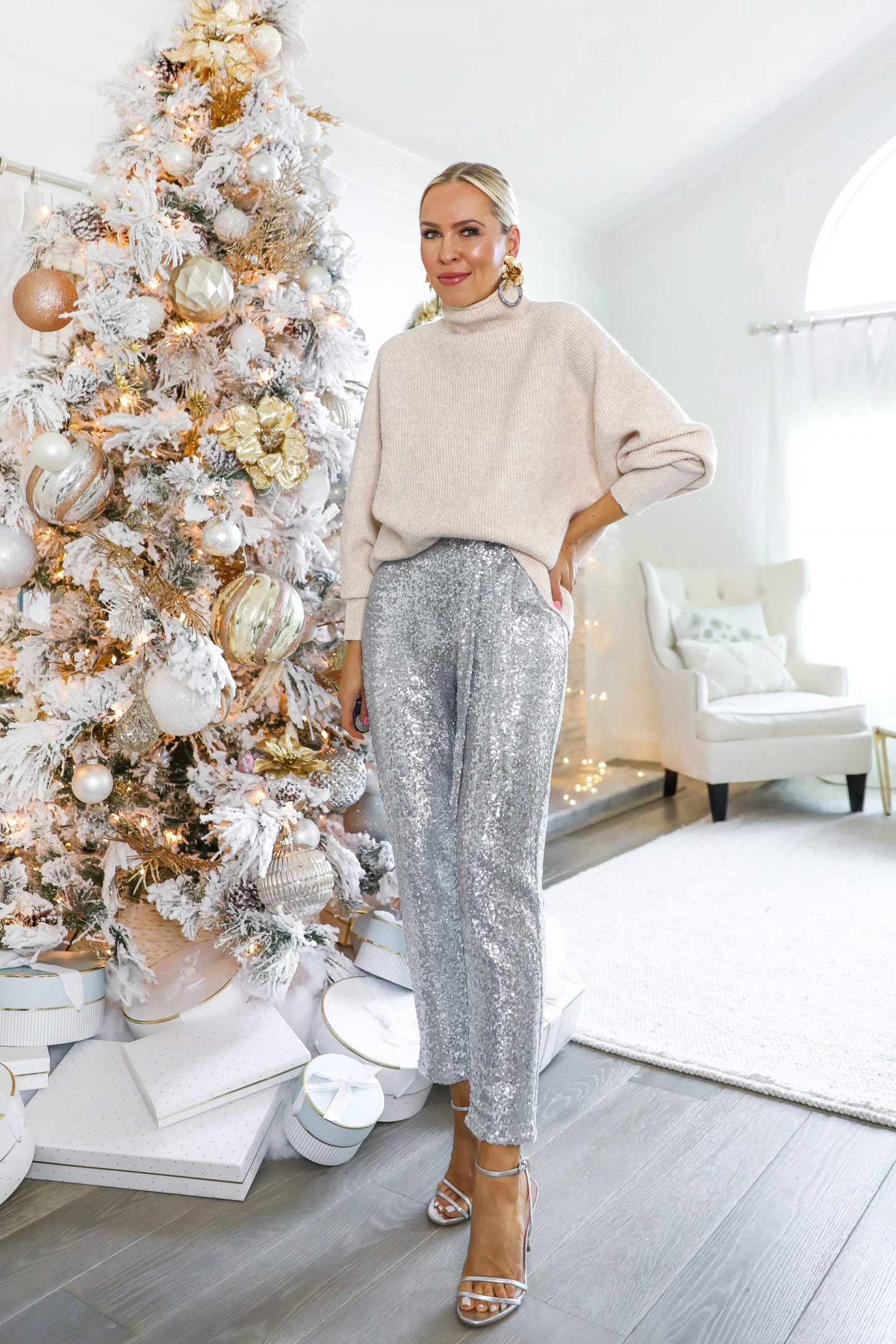 Holidays at home style inspiration, in cozy sweaters and sequin pieces. Featured by San Francisco fashion blogger Lombard & Fifth.