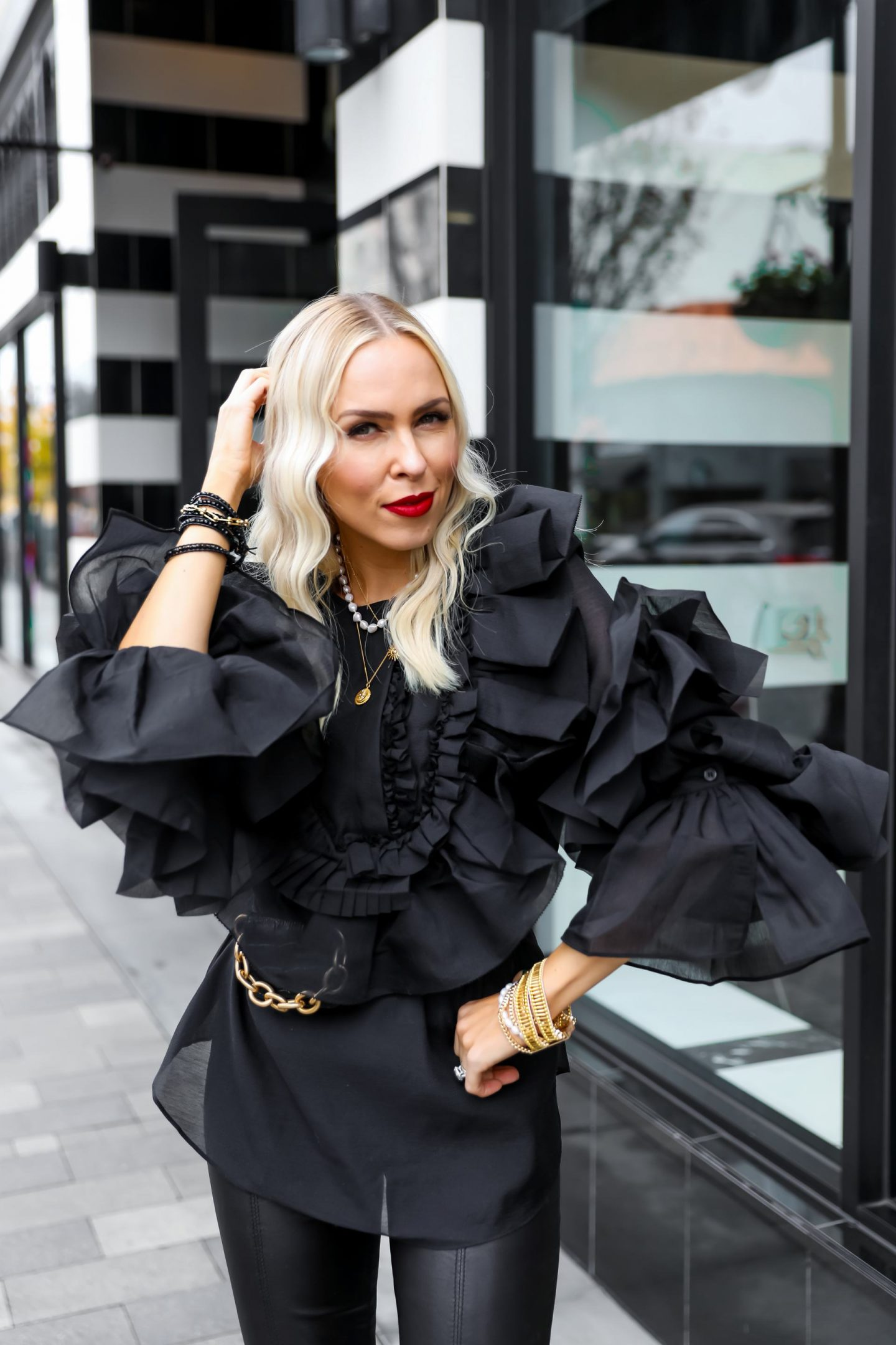 Victoria Emerson bracelet BOGO sale, styled in monochromatic black and teal wearing H&M studio collaboration ruffle top. Featured by San Francisco fashion blogger Lombard & Fifth.