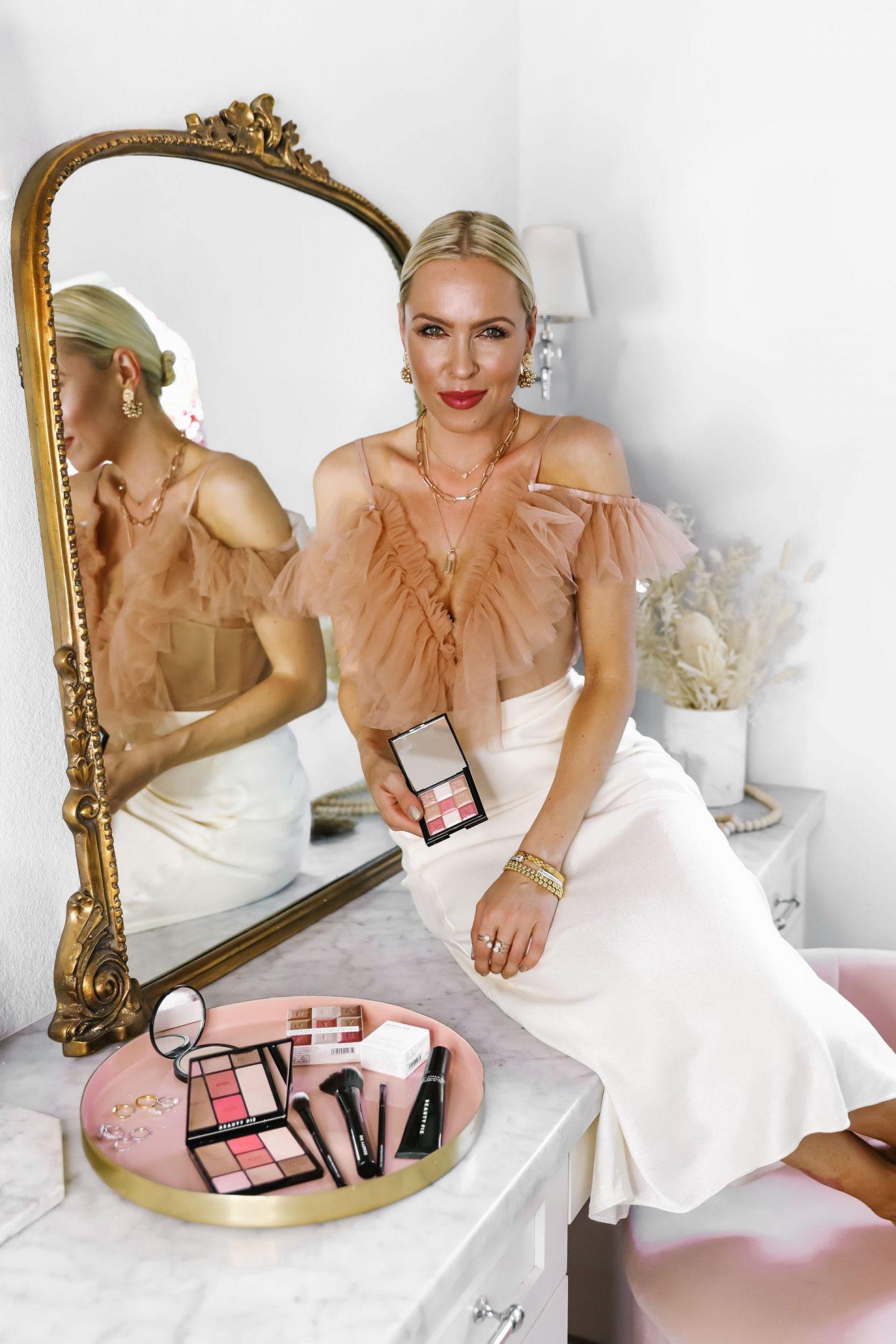 2020 Gift Guide for the beauty lover, featured by San Francisco fashion blogger Lombard and Fifth. Beauty gift ideas like Nuface device, silk face mask, Charlotte Tilbury make up.
