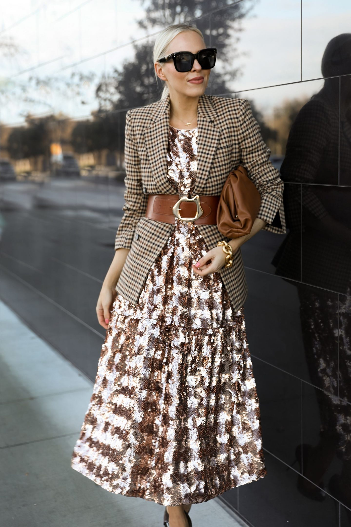 How to style your sequin pieces after the holidays, by San Francisco fashion blogger Lombard & Fifth. Anthropologie Bernadette Sequined midi dress.