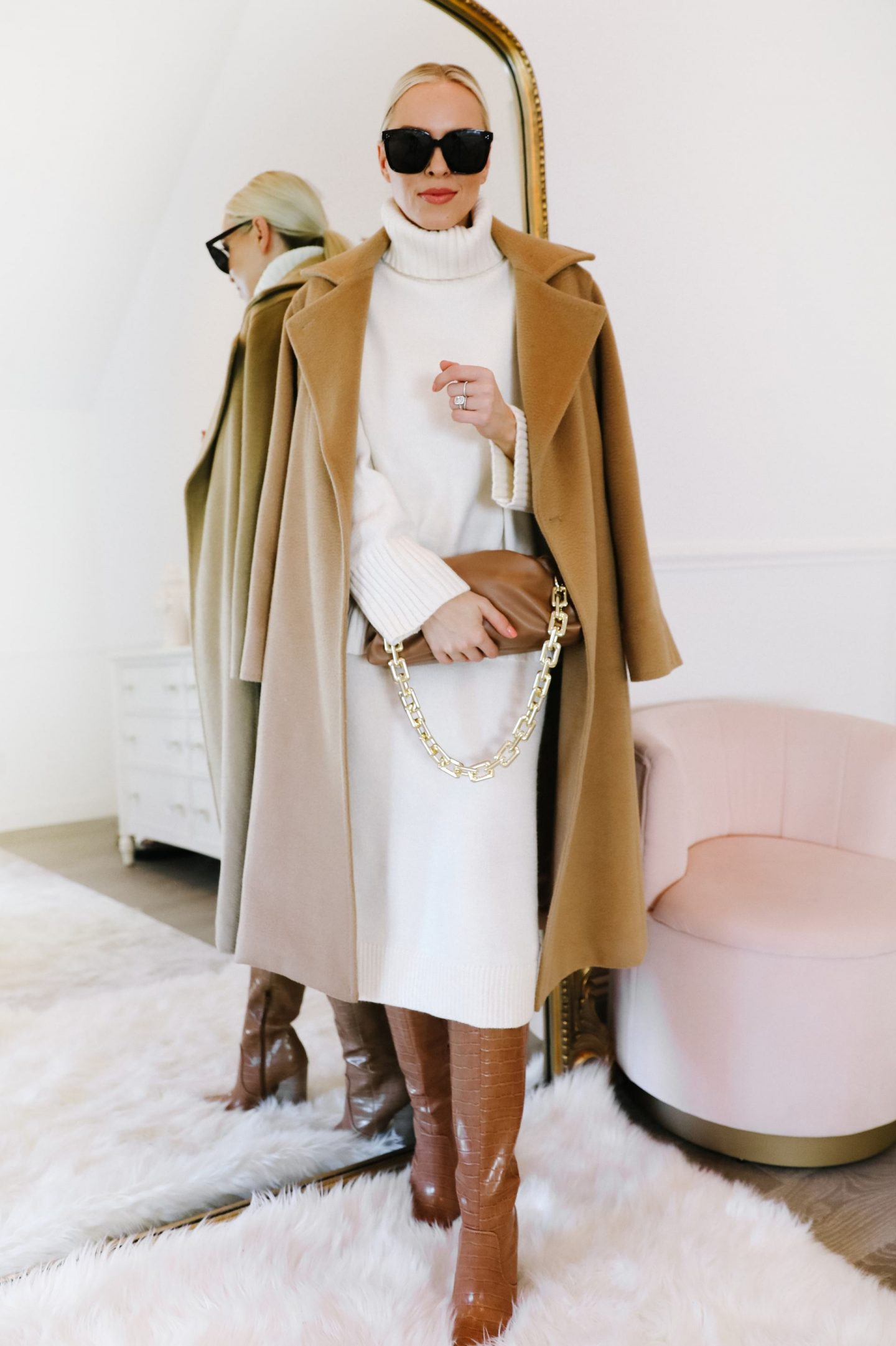 How to style a white knit sweater and skirt set three ways, by San Francisco fashion blogger Lombard & Fifth.