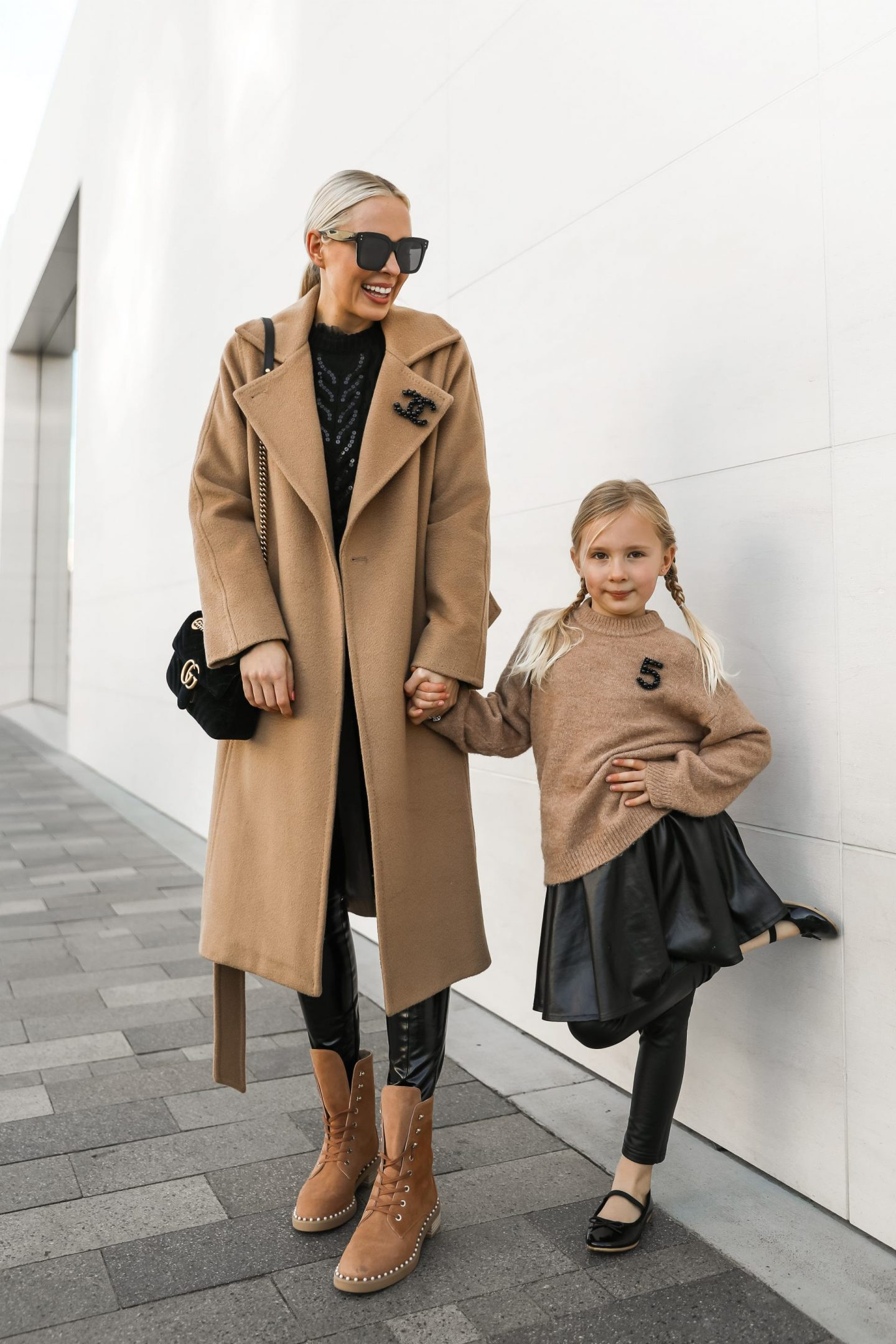 Best camel coats and neutral layers for winter, featured by Lombard & Fifth. Mommy and me winter style.