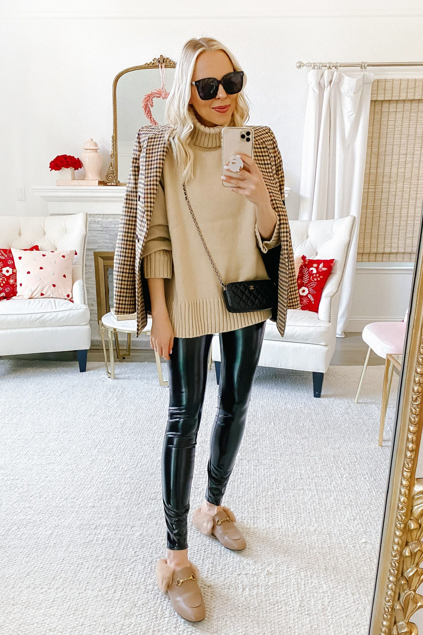 How to style affordable faux leather leggings for winter, by Lombard & Fifth Veronica Levy.