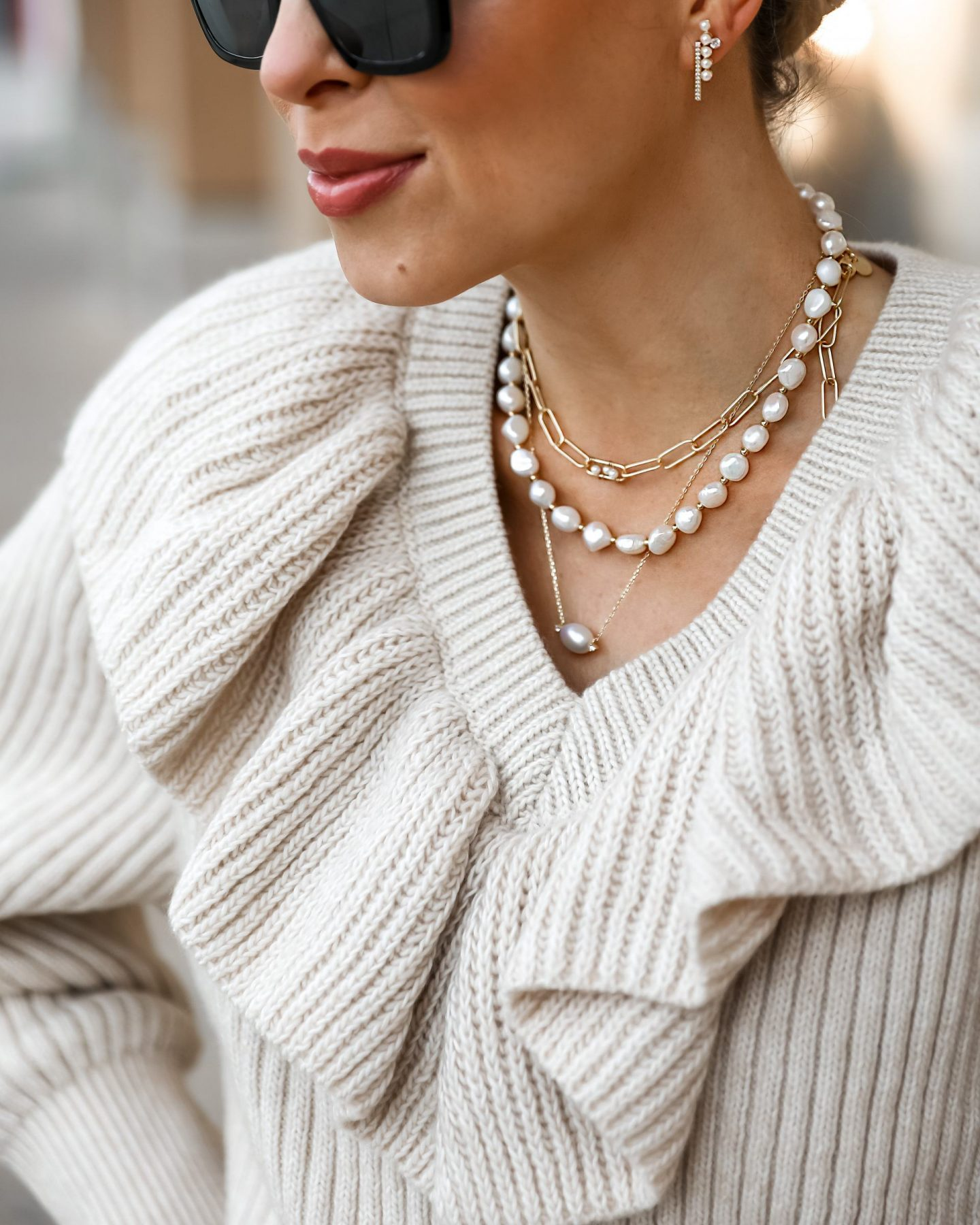 Dainty gold and pearl jewelry from Victoria Emerson, on BOGO sale. Featured by San Francisco fashion blogger Lombard & Fifth.