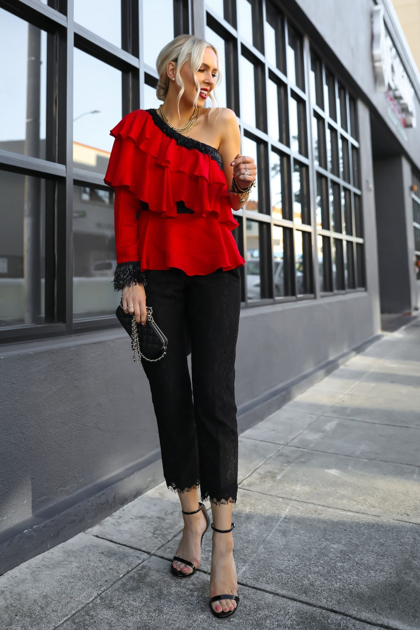 Valentine's Day style inspiration with gold and pearl best accessories from Victoria Emerson BOGO sale. By San Francisco fashion blogger Lombard & Fifth.
