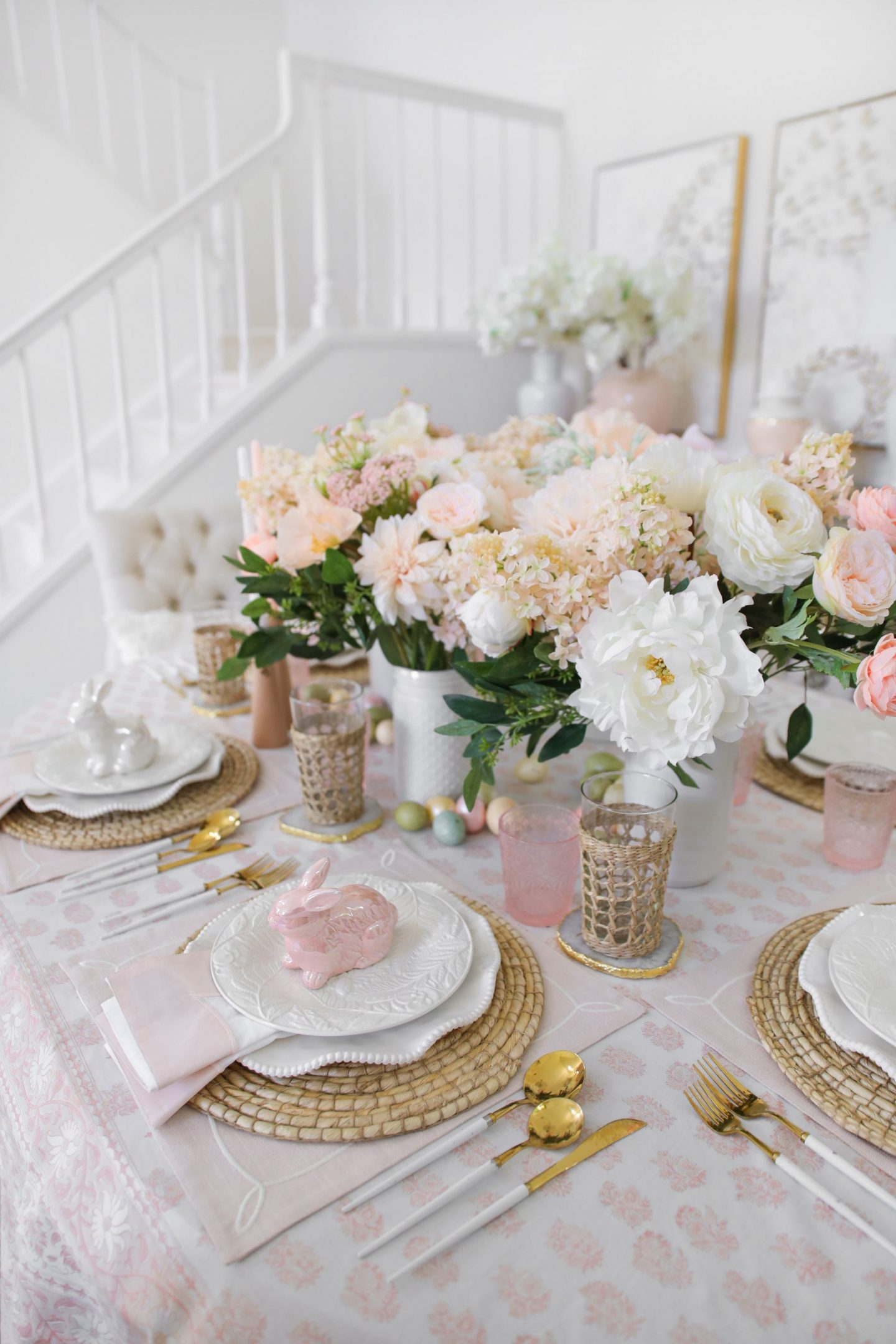Blush pastel Easter table scape styling ideas, by Lombard & Fifth blogger Veronica Levy.