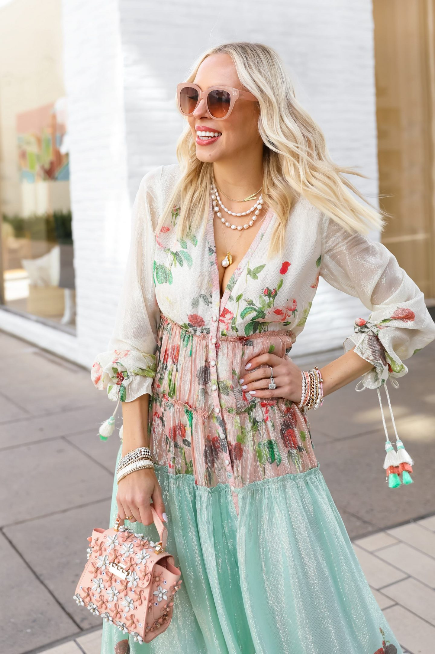 Easter style Rococo Sand pastel maxi dress with Victoria Emerson sale jewelry, by Lombard & Fifth Veronica Levy.