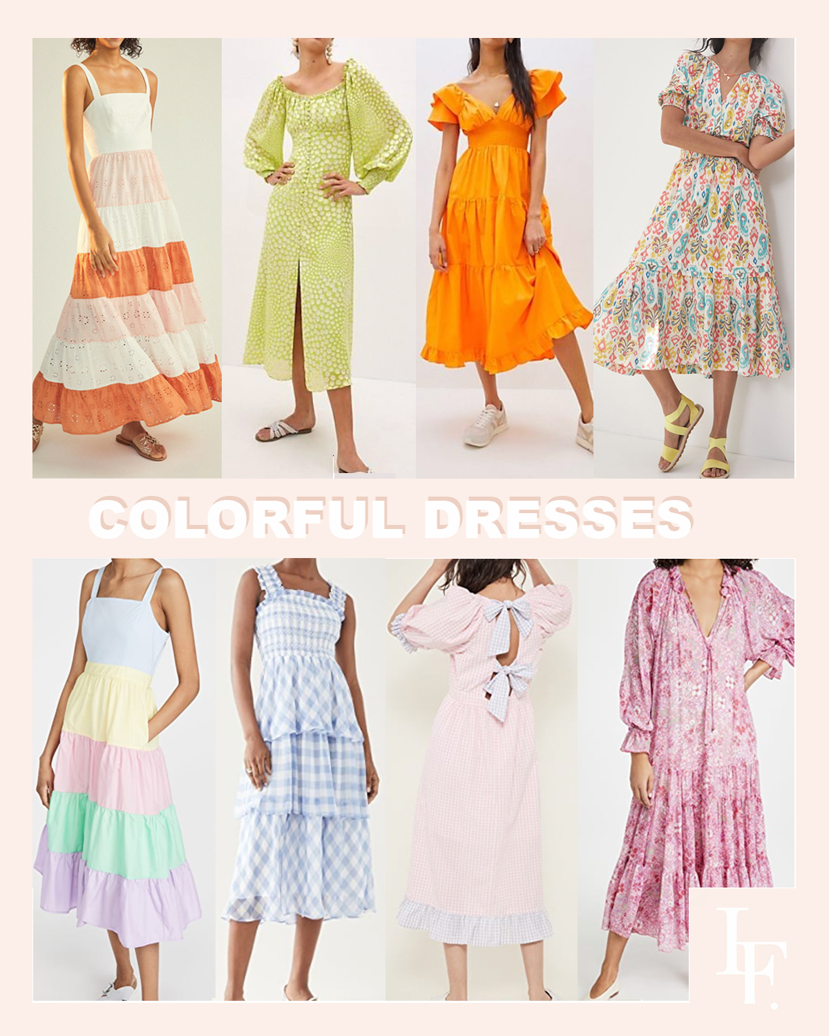 Colorful dress inspiration for spring from Anthropologie and Shopbop style sale, by Lombard & Fifth blog Veronica Levy.