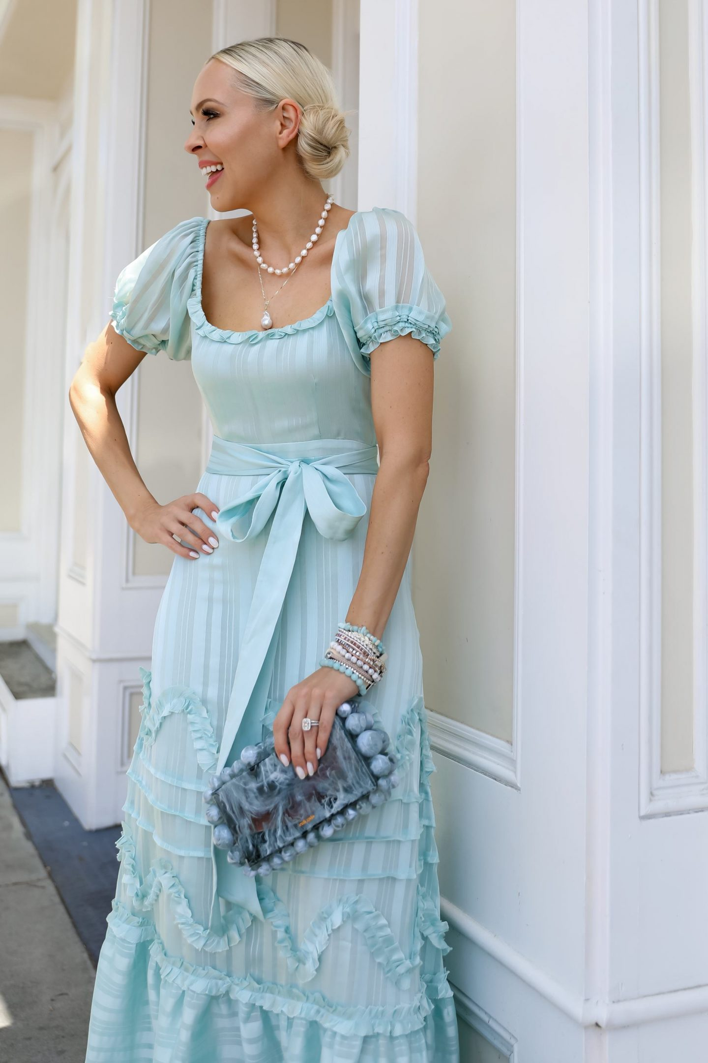 Bridgerton style with boho accessories, wedding guest inspiration by Lombard & Fifth Veronica Levy.