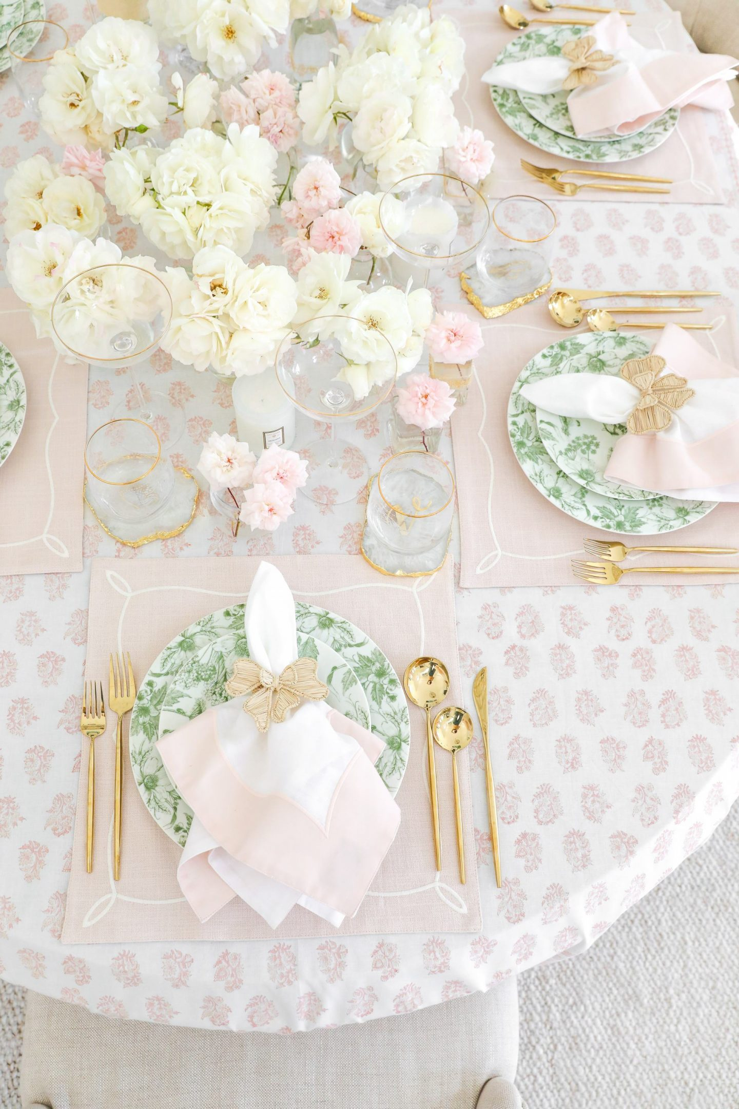 Pink and green table top style inspiration for spring and summer by Lombard & Fifth, Veronica Levy.