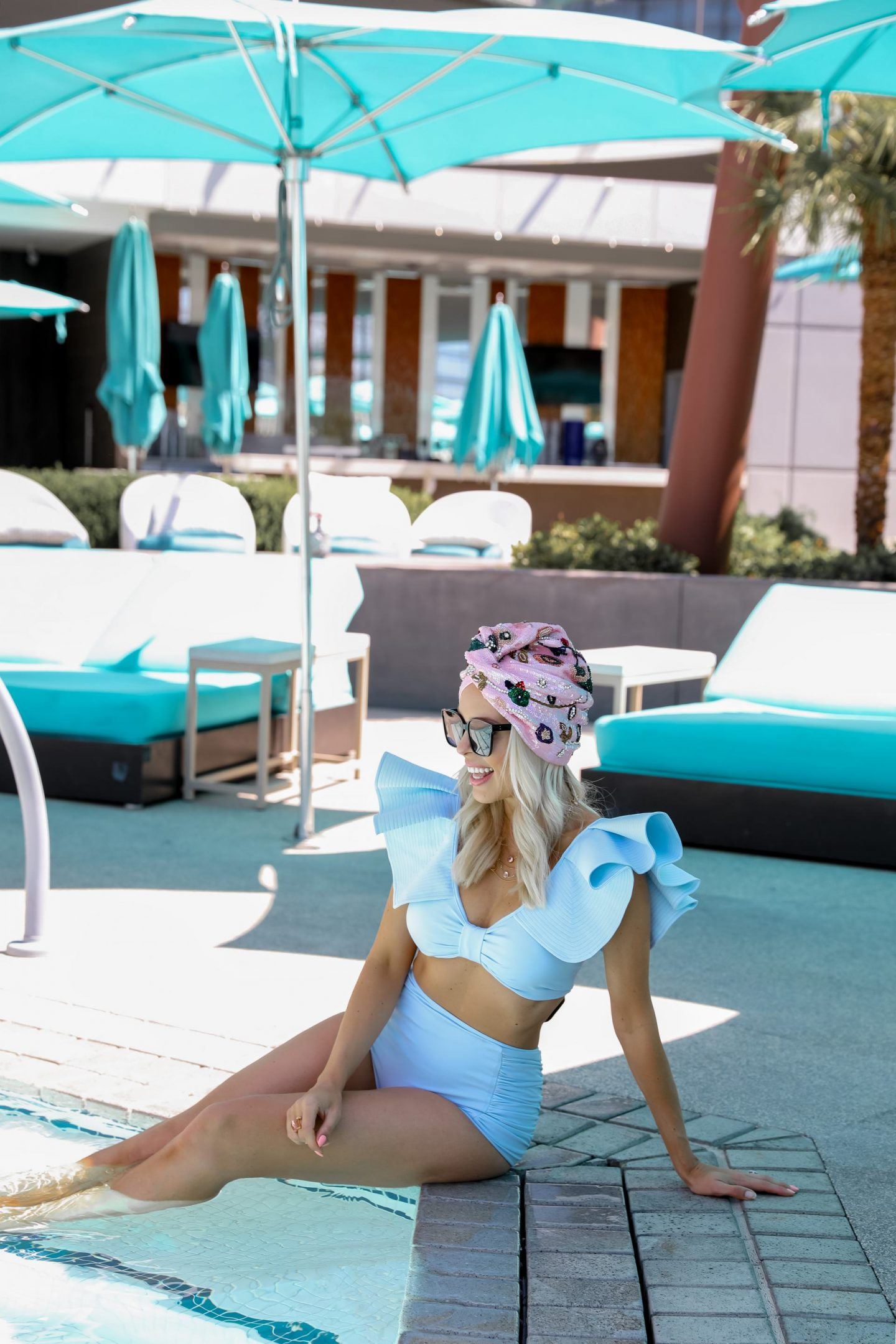 Statement swimwear style inspiration and sequin turbans from Maryjane Claverol, by Lombard & Fifth Veronica Levy. Chicwish swimsuit Plunging V-Neck Bowknot Ruffle Trim Bikini Set